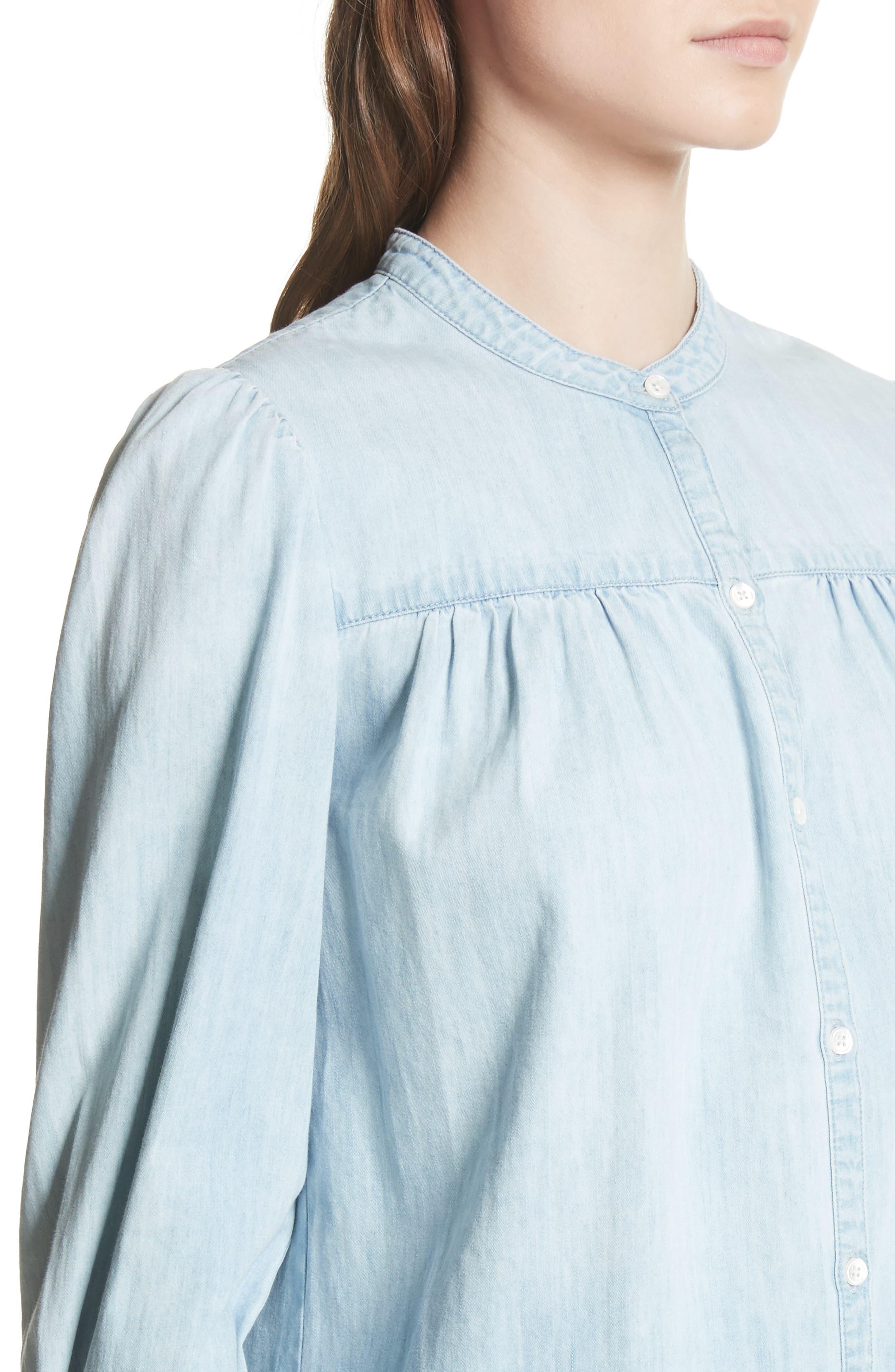 Aubrielle Silk Cotton Chambray Top,                             Alternate thumbnail 4, color,