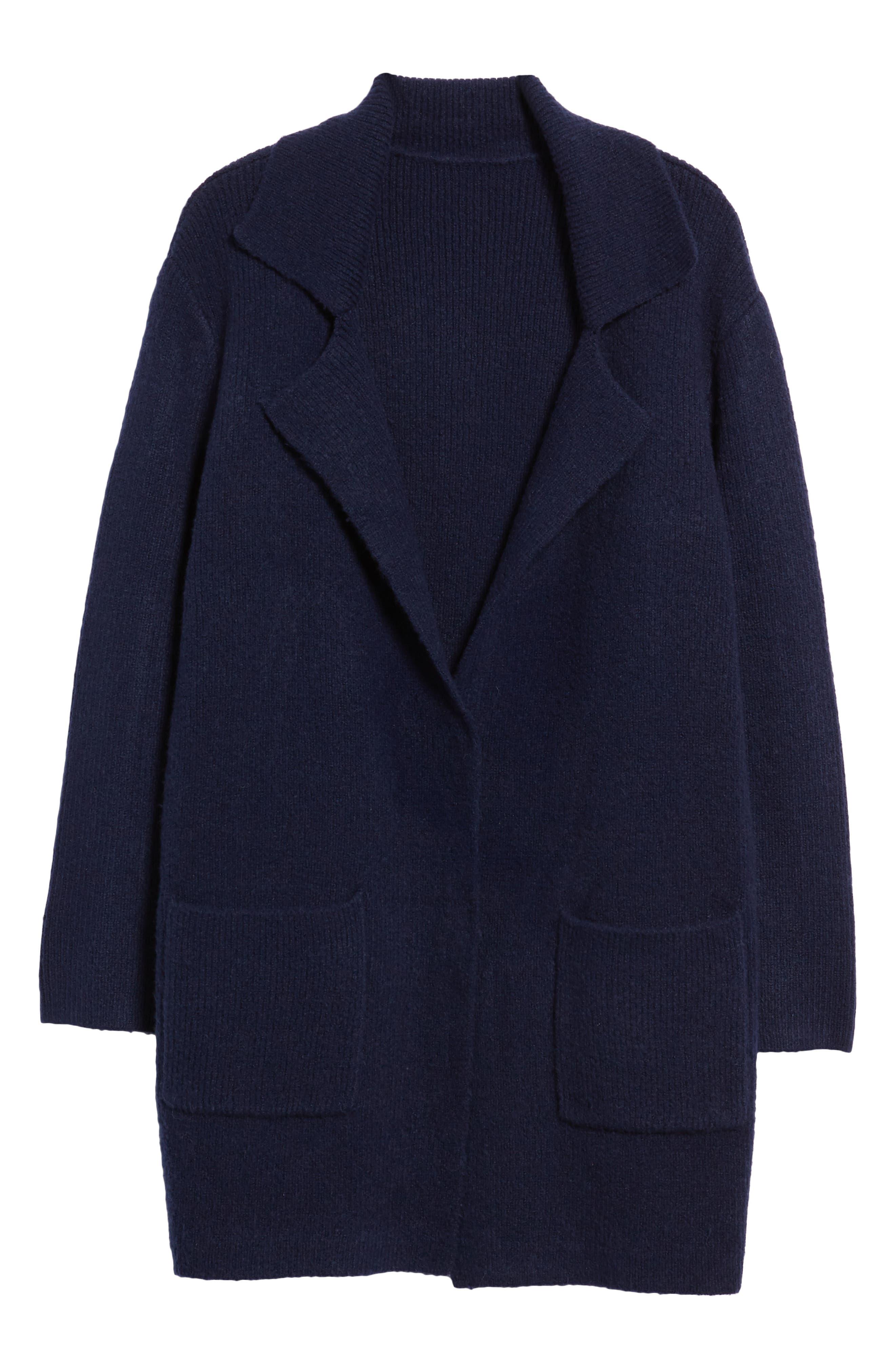 Knit Sweater Coat,                             Alternate thumbnail 6, color,                             NAVY MARITIME