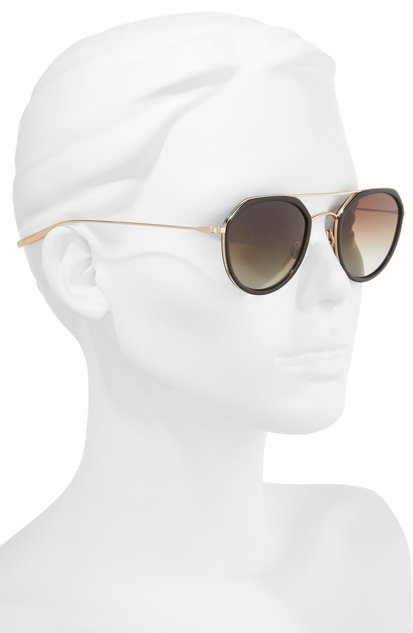 Dibergi Resin 50mm Polarized Round Sunglasses,                             Alternate thumbnail 2, color,                             BLACK/ HONEY GOLD