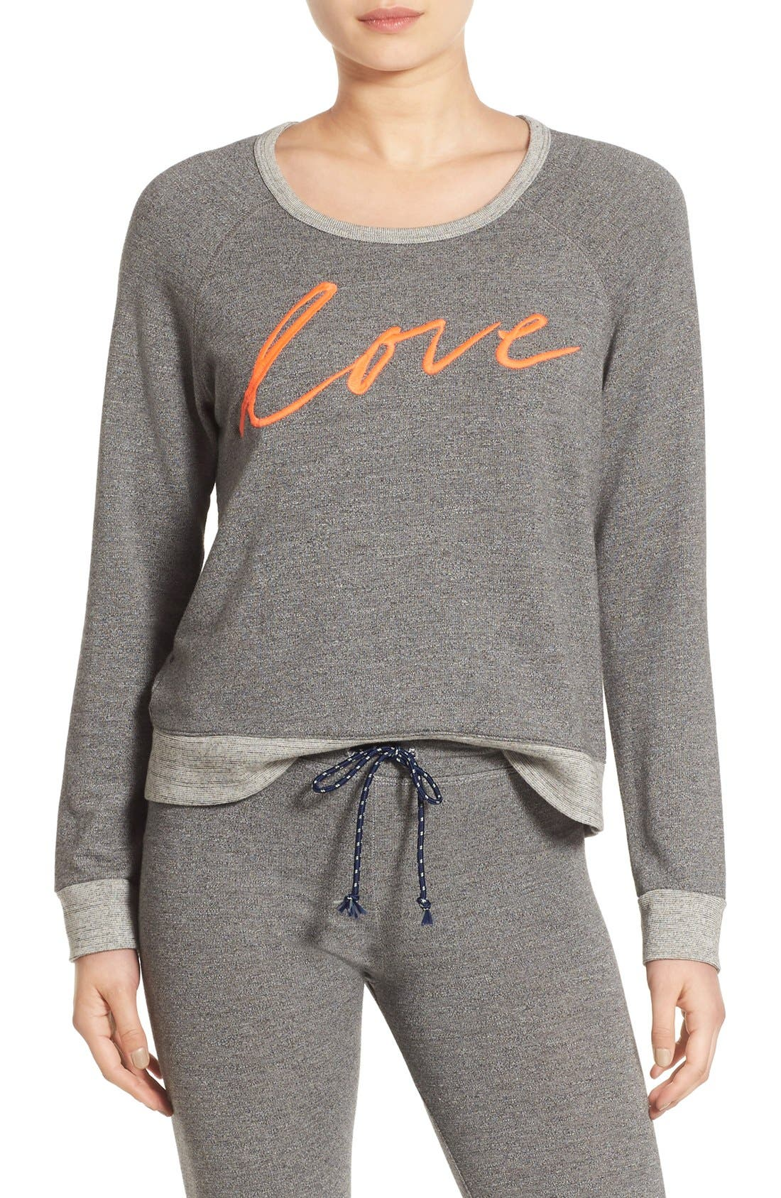 'Love' Pullover Sweatshirt,                             Main thumbnail 1, color,                             039