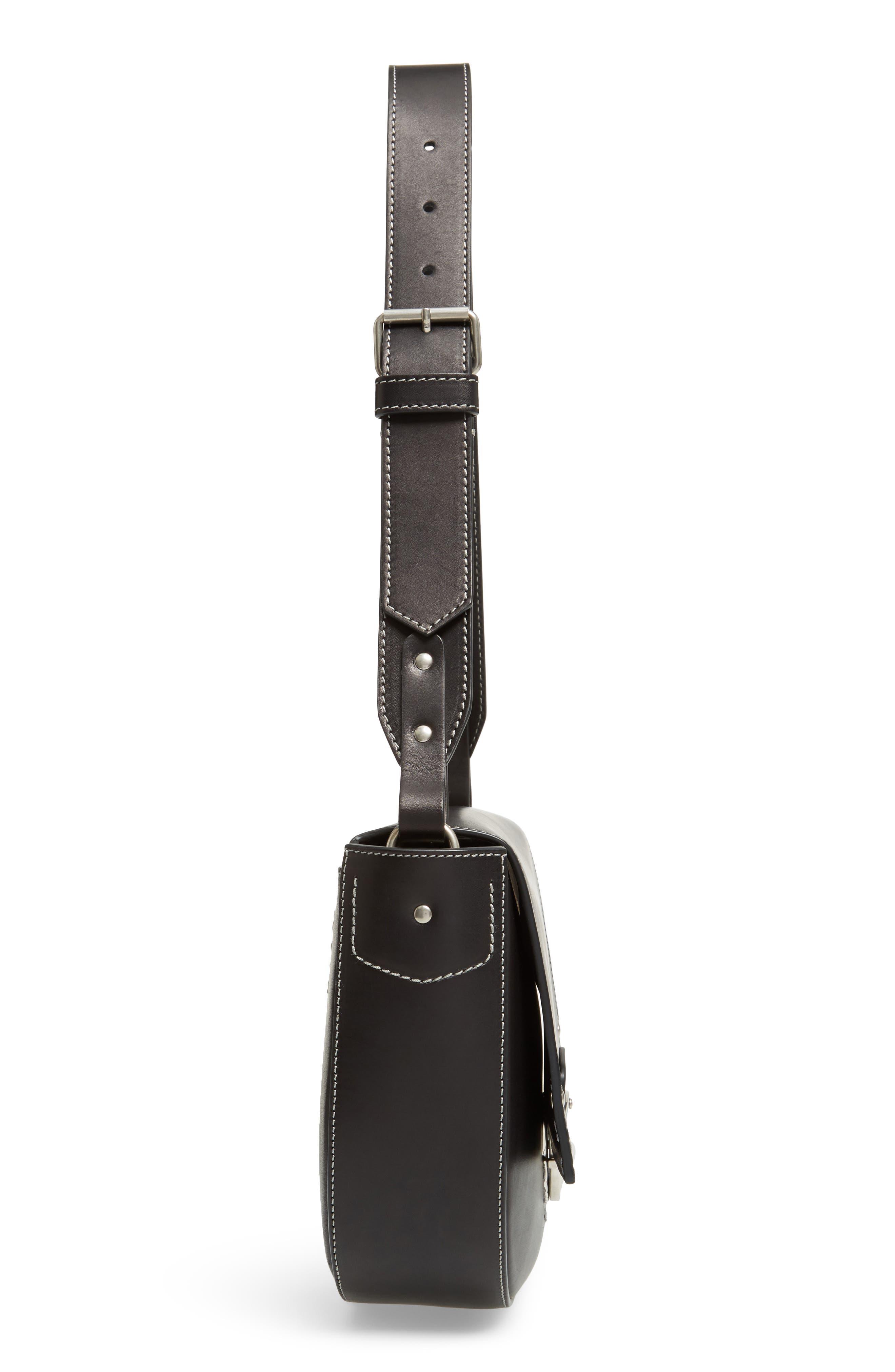 Marlow II Leather Shoulder Bag,                             Alternate thumbnail 5, color,                             001
