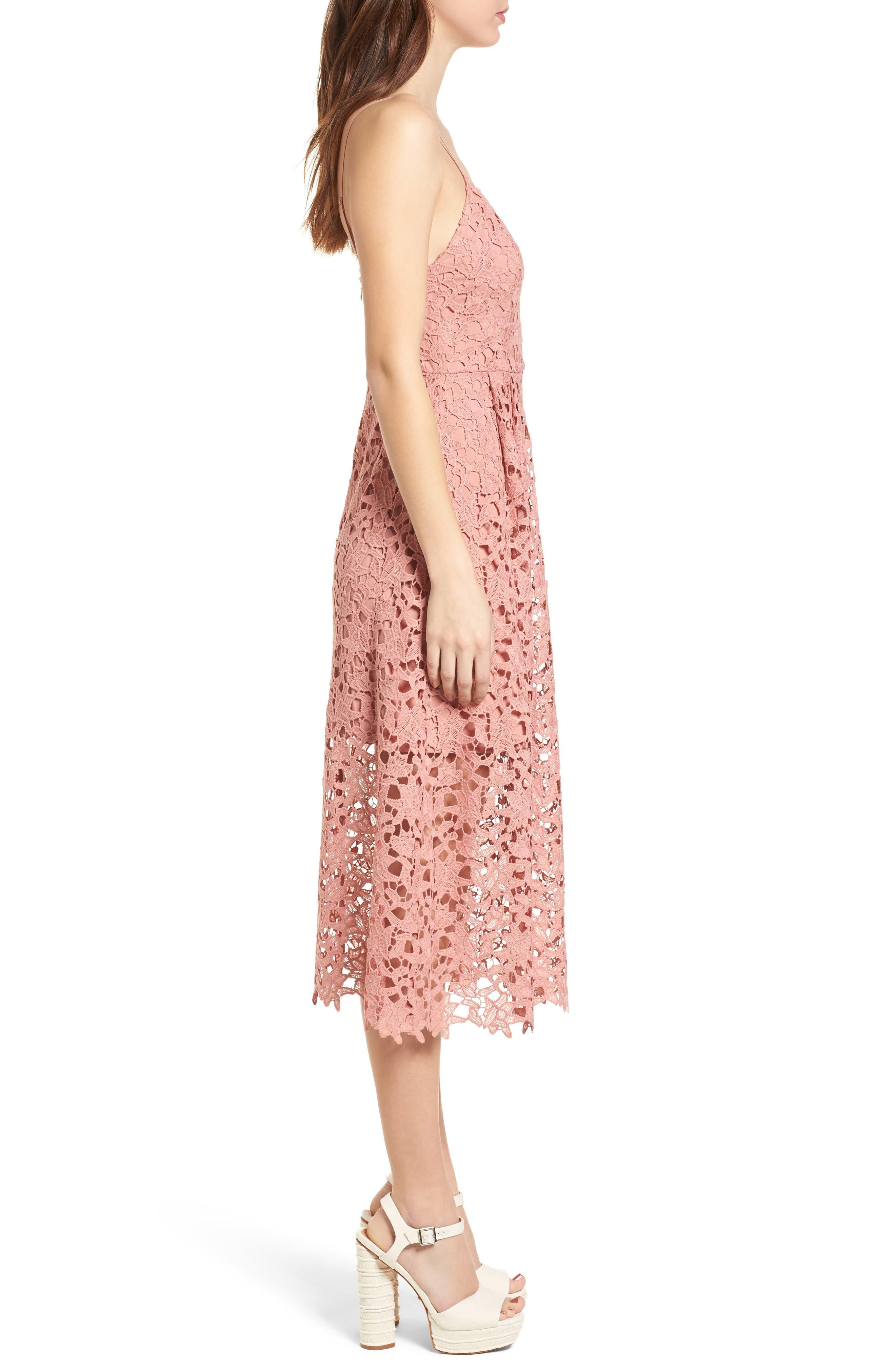 Lace Midi Dress,                             Alternate thumbnail 3, color,                             DARK BLUSH