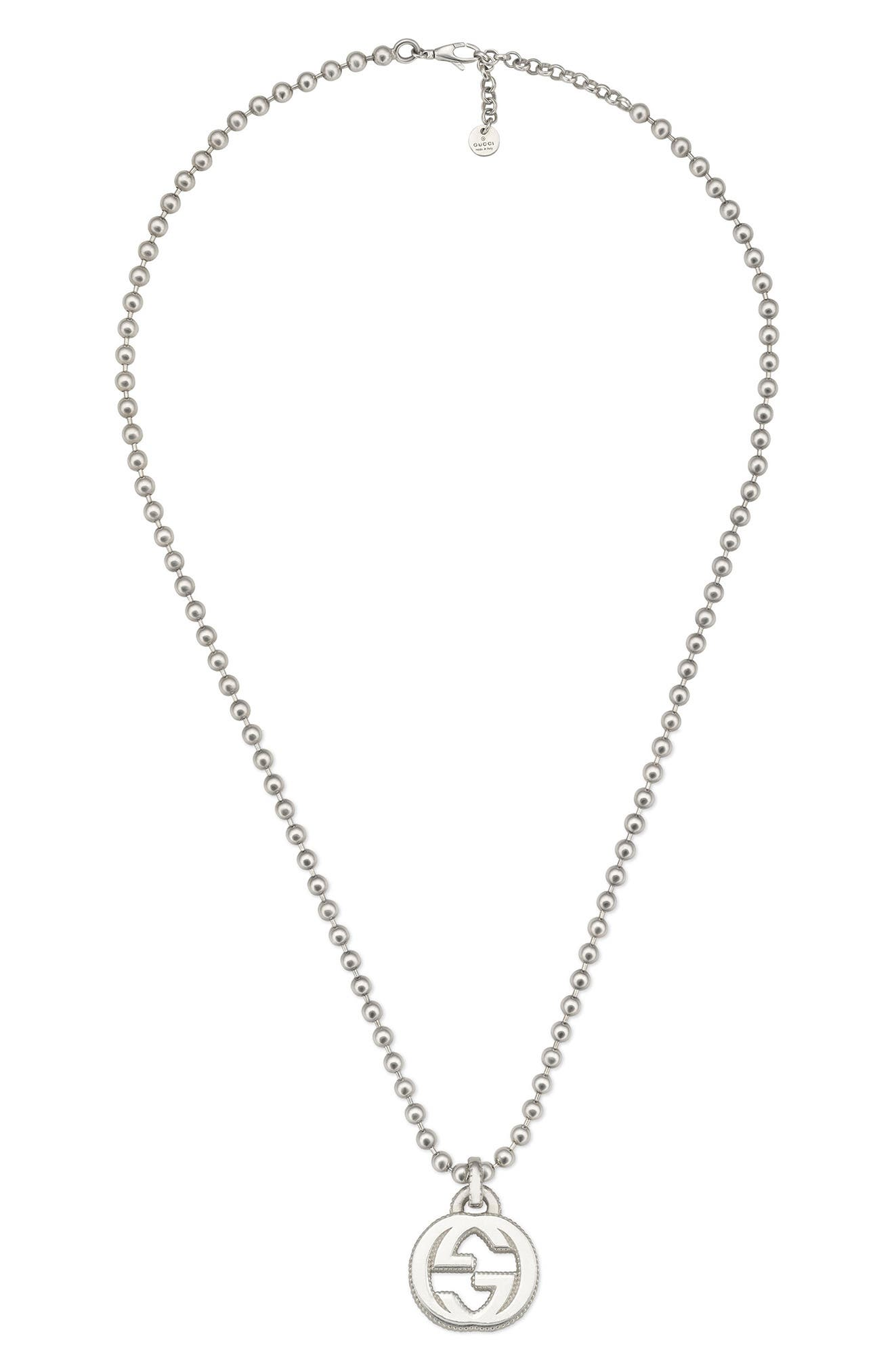 GUCCI,                             Interlocking-G Necklace,                             Main thumbnail 1, color,                             STERLING SILVER