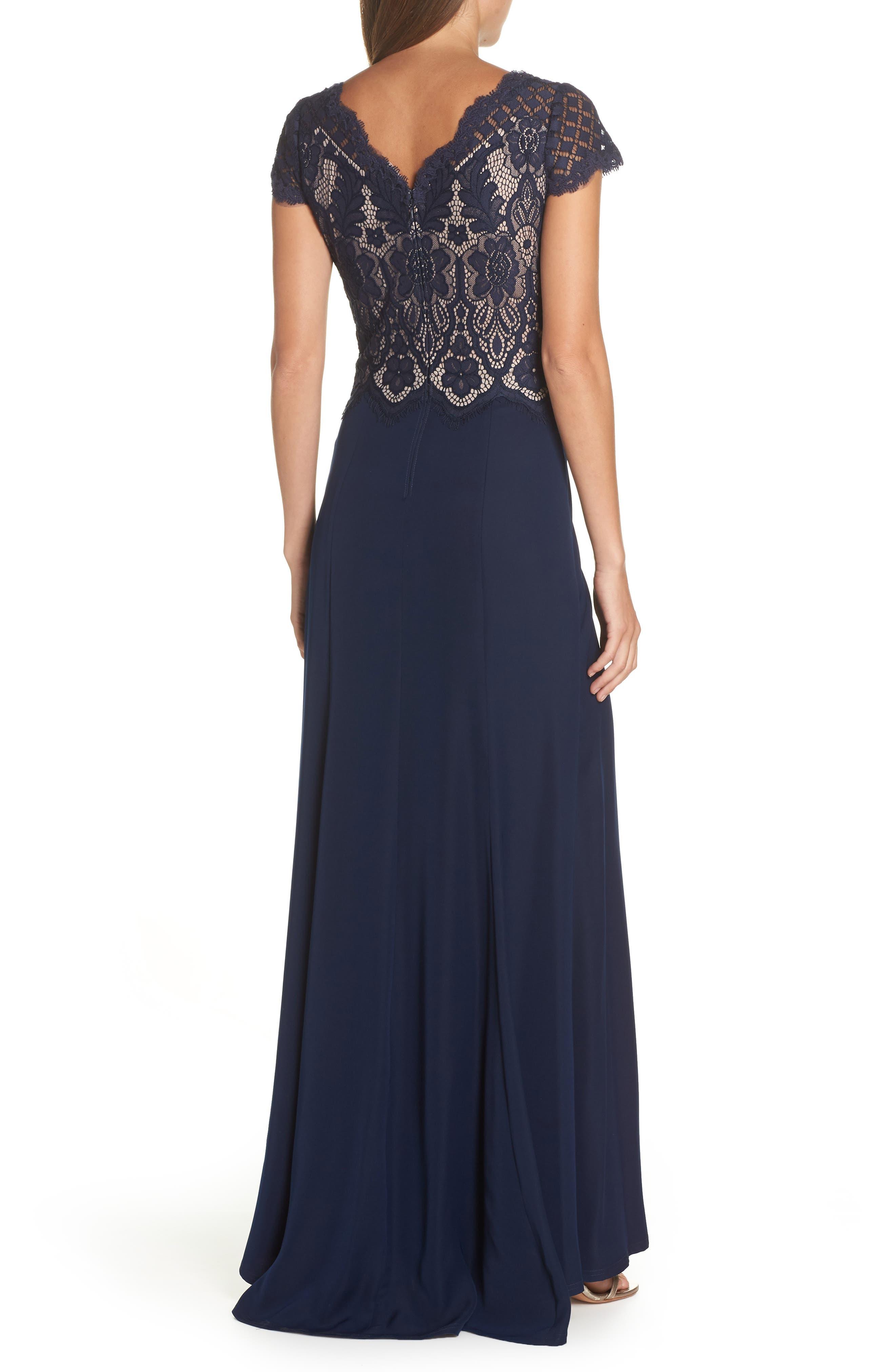 Lace & Crepe A-Line Gown,                             Alternate thumbnail 3, color,                             NAVY/ PETAL