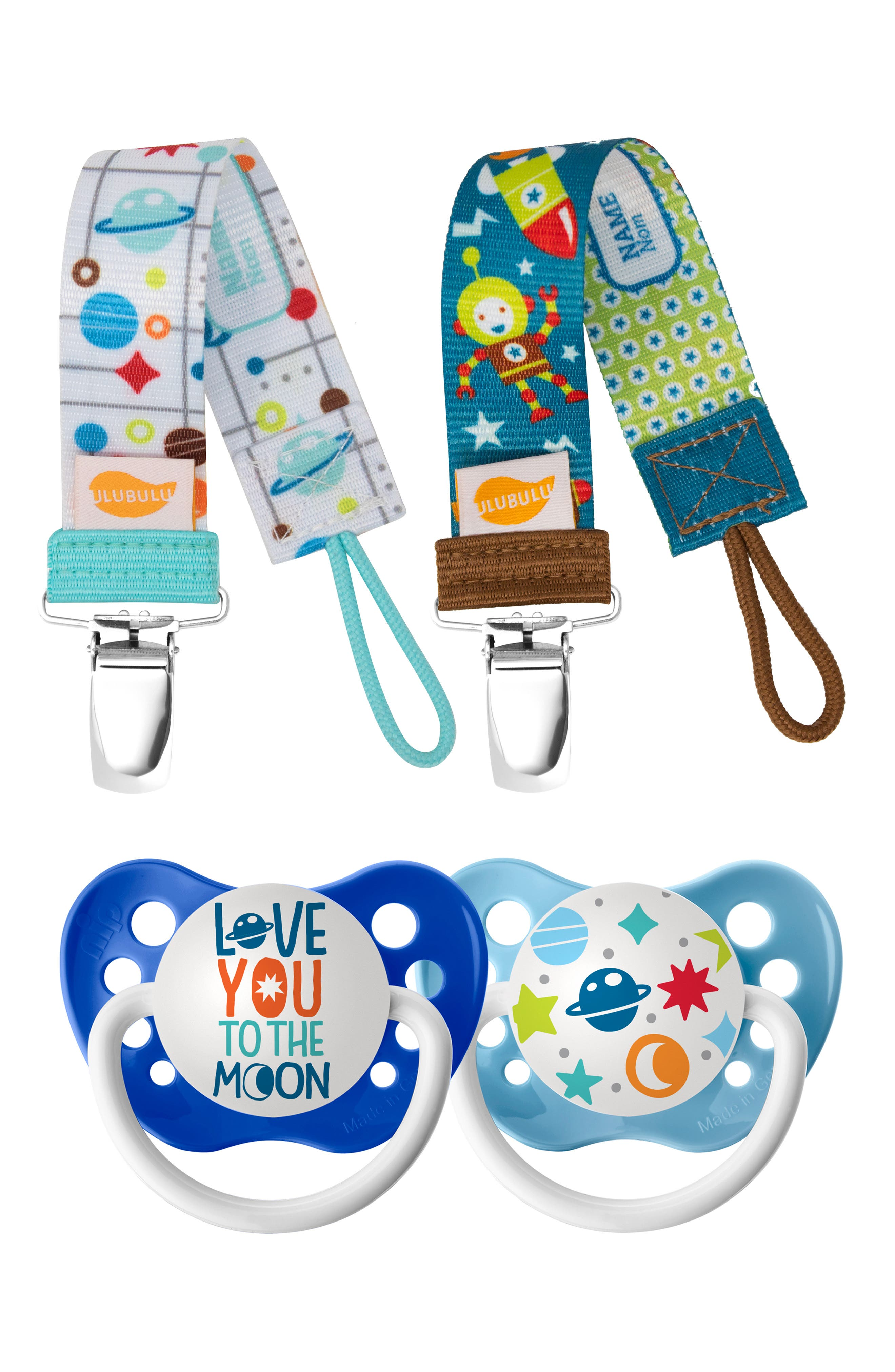 Infant Boys Ulubulu Love You To The Moon 2Pack Pacifier  Clip Set Size 618 M  Blue