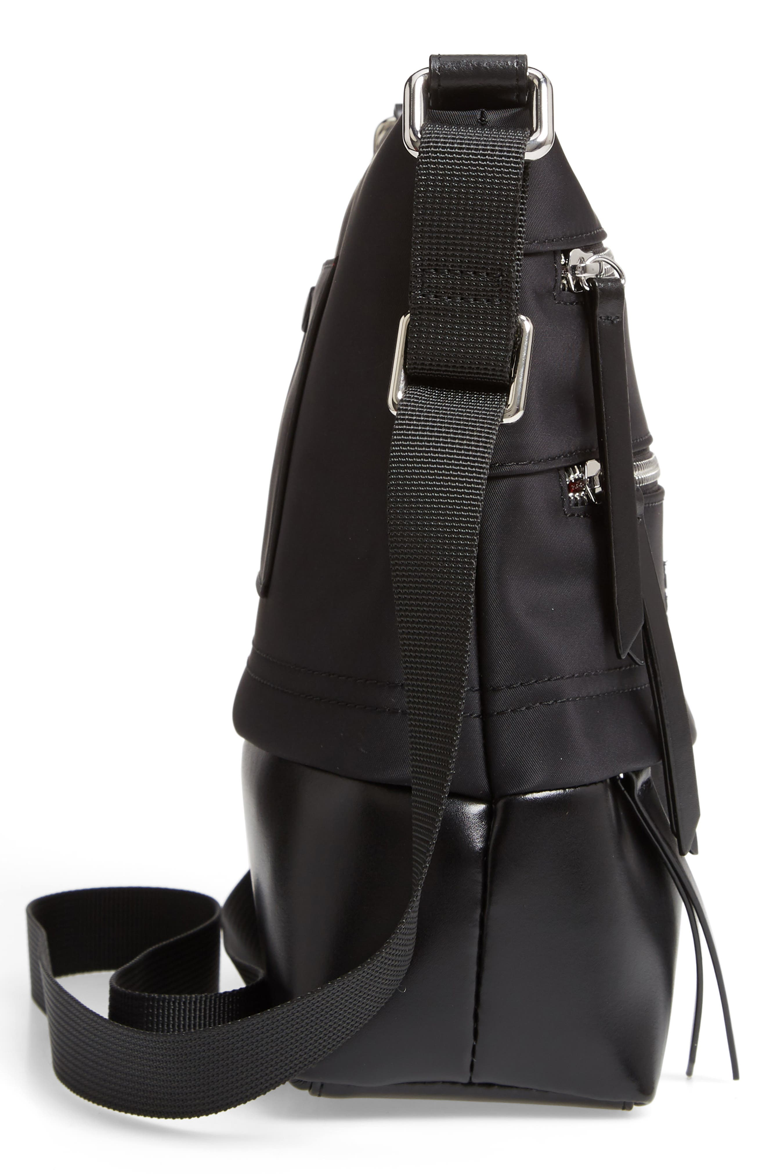 Wanda Nylon Sport RFID Travel Crossbody Bag,                             Alternate thumbnail 5, color,                             BLACK
