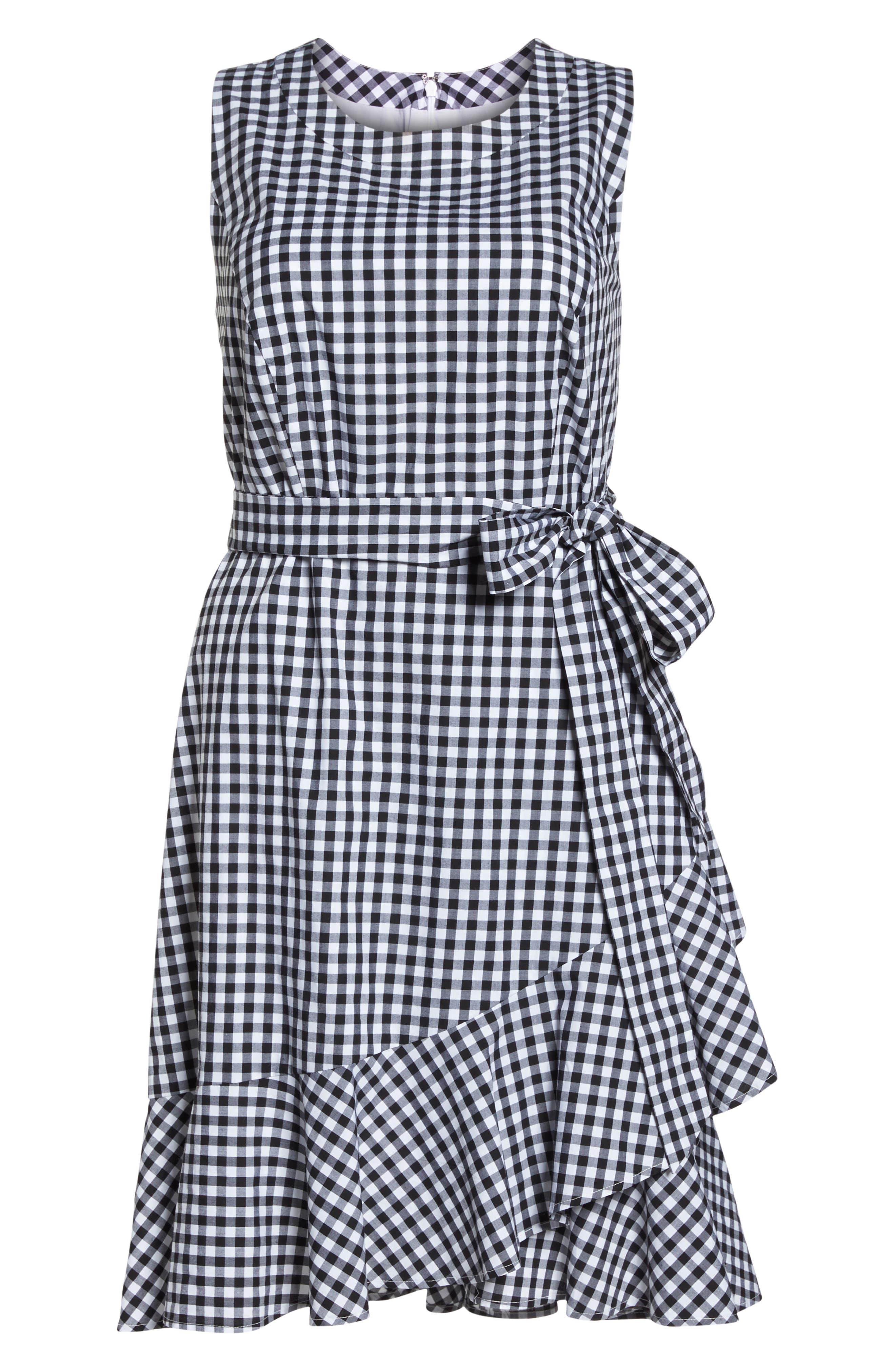 Belted Ruffle Hem Gingham Dress,                             Alternate thumbnail 7, color,                             100