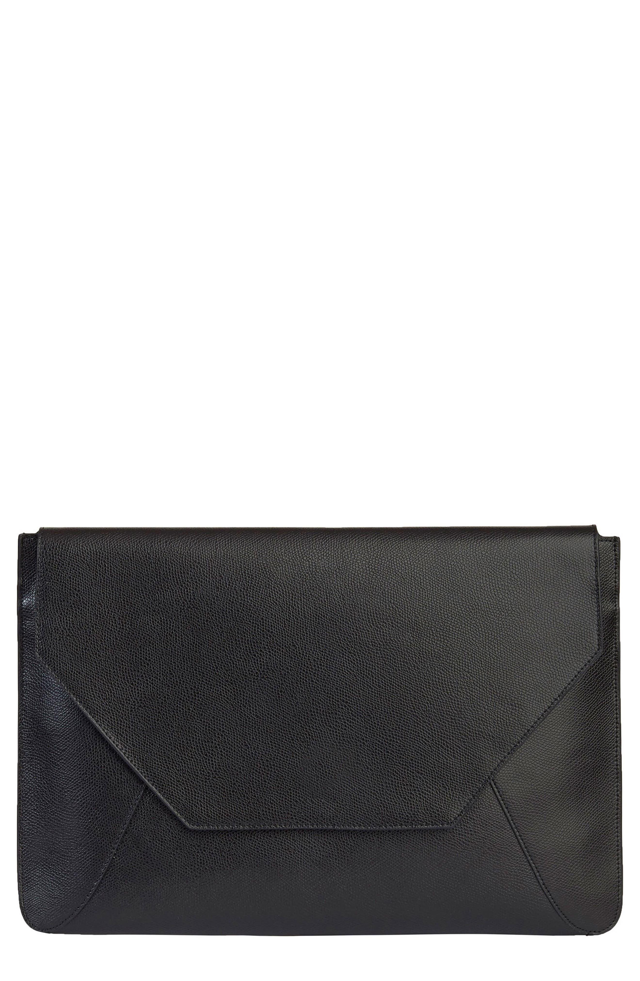 Pebbled Leather Envelope Clutch,                             Main thumbnail 1, color,                             NOIR