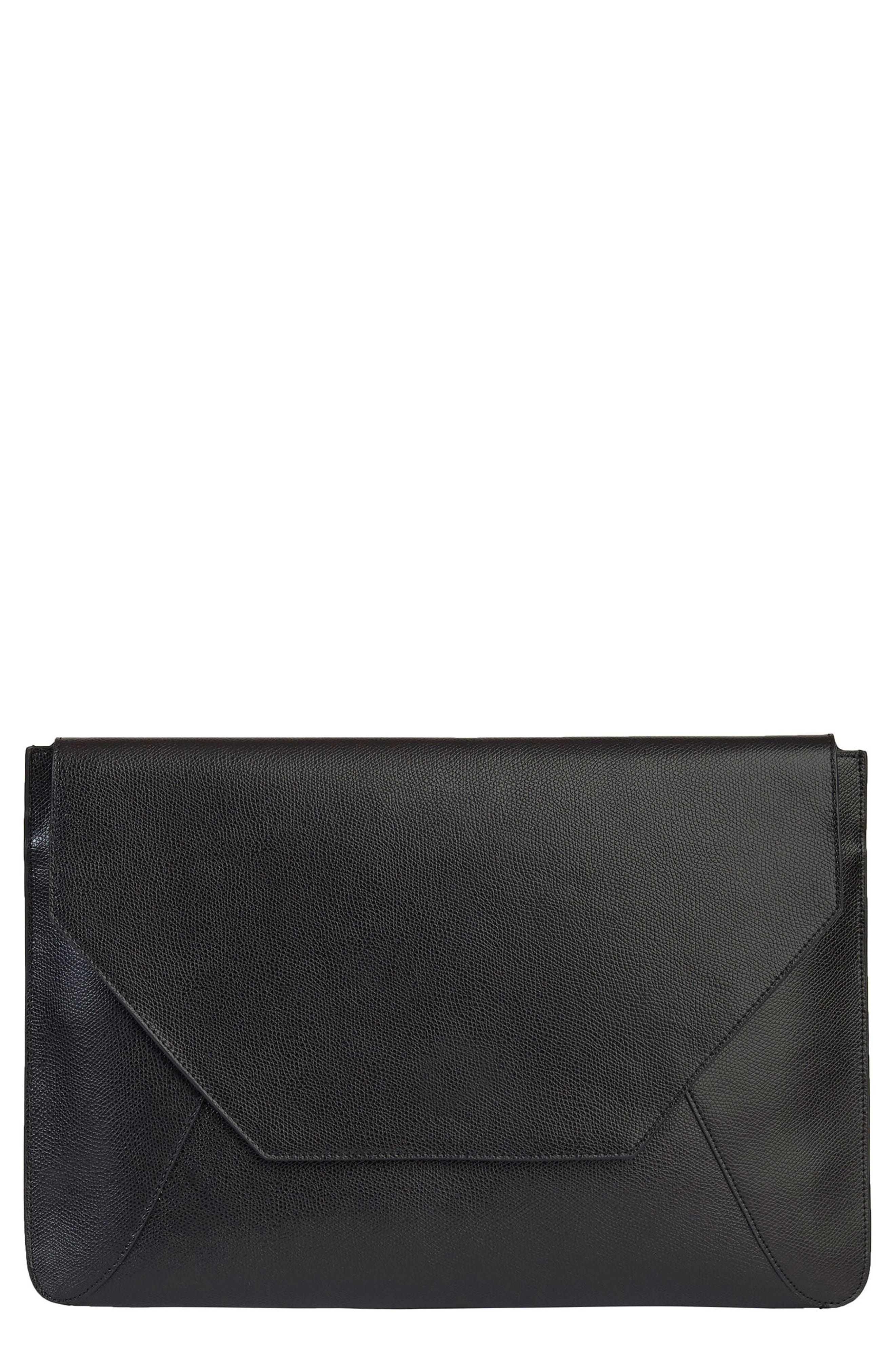 Pebbled Leather Envelope Clutch,                             Main thumbnail 1, color,                             001