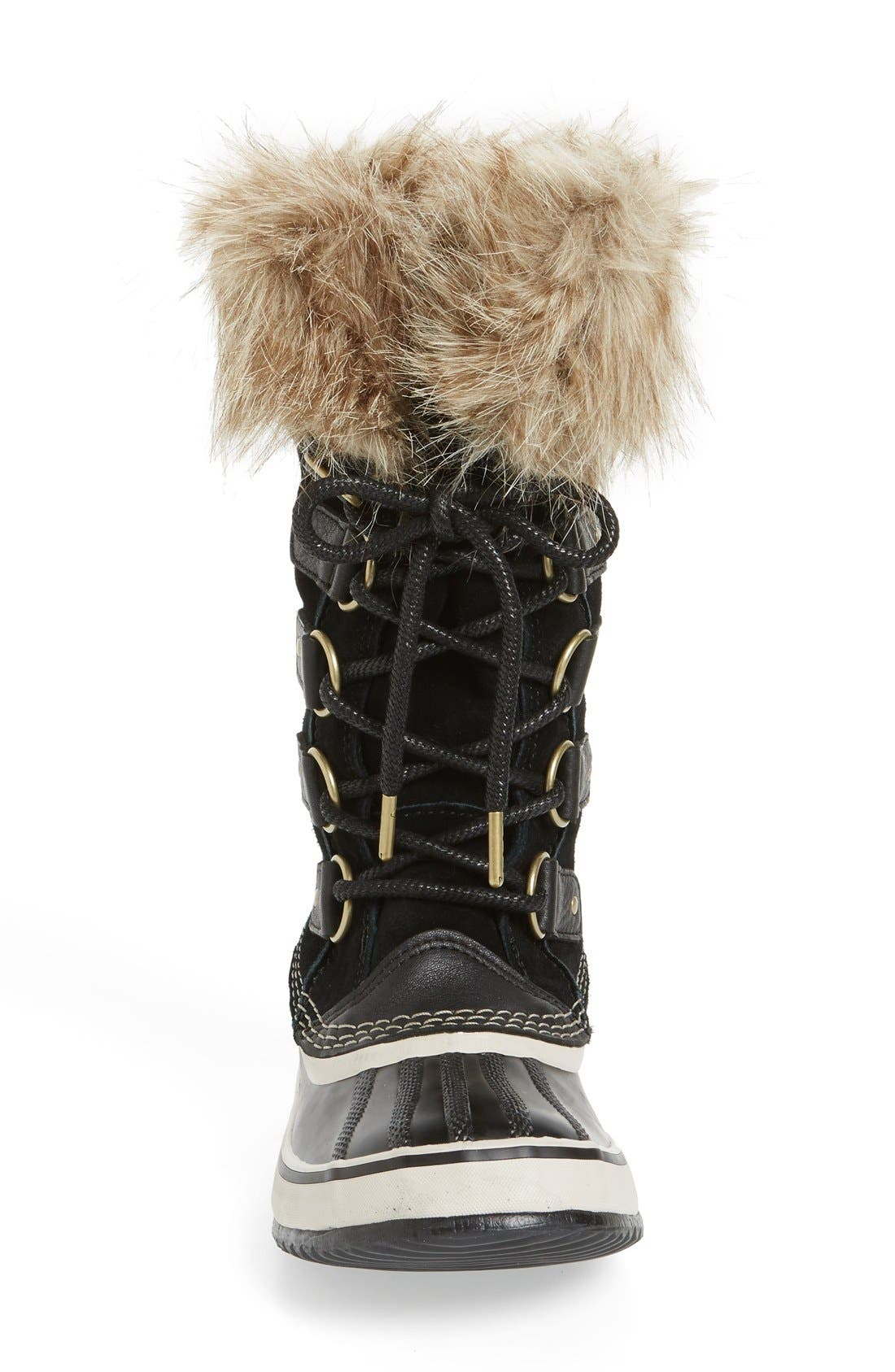 'Joan of Arctic' Waterproof Snow Boot,                             Alternate thumbnail 3, color,                             BLACK/ STONE