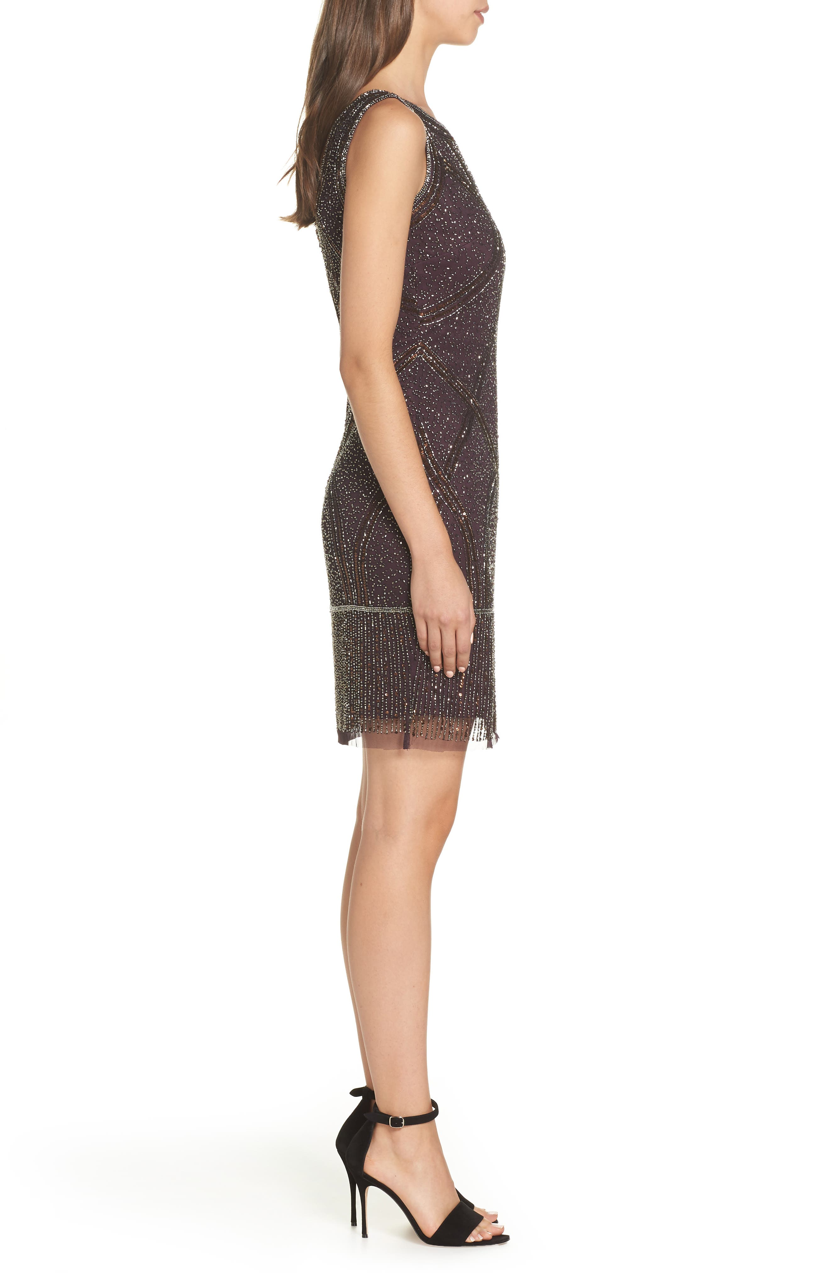 Beaded Fringe Hem Sheath Dress,                             Alternate thumbnail 3, color,                             WINE