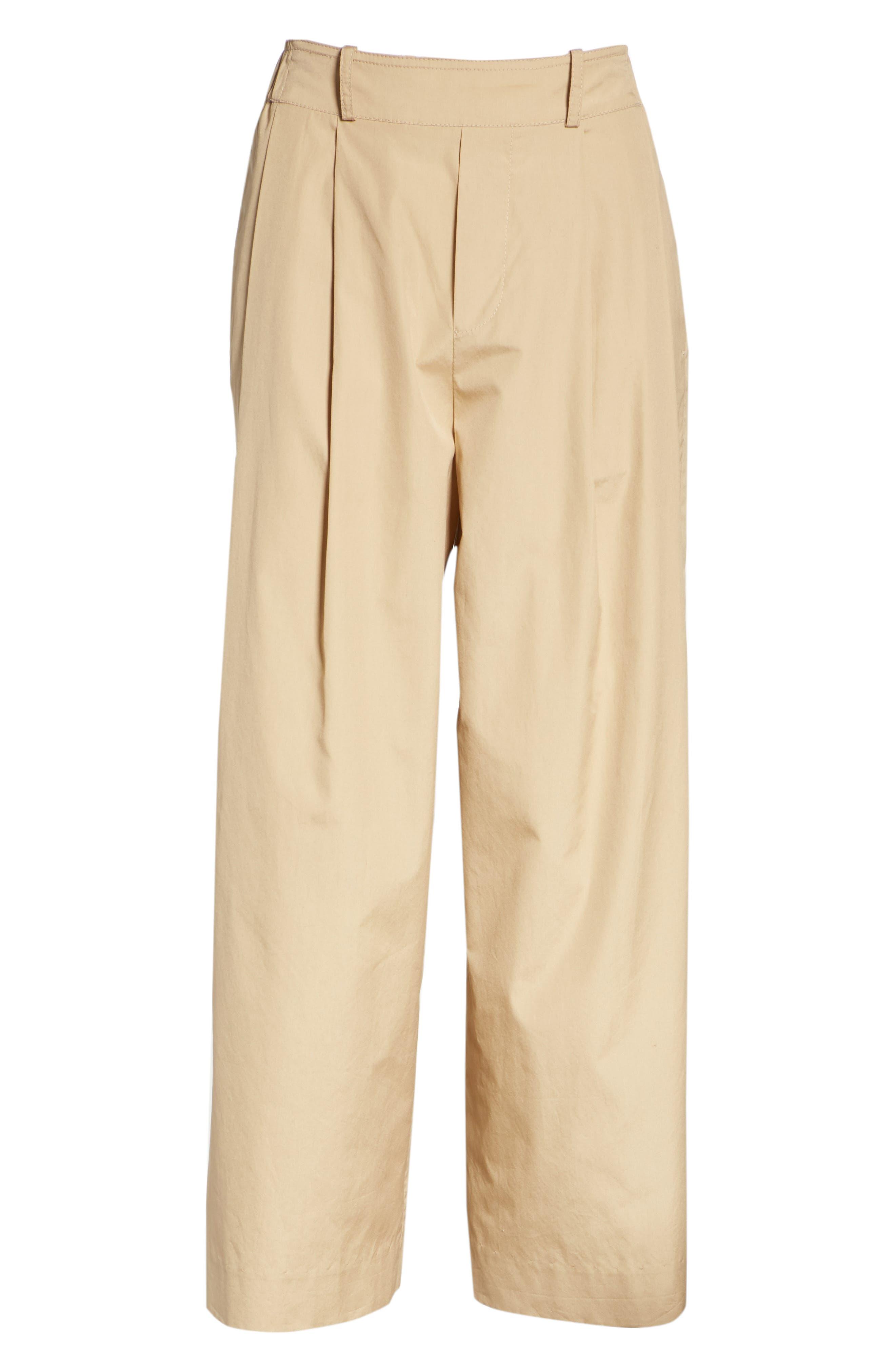 Wide Leg Polished Cotton Pants,                             Alternate thumbnail 6, color,                             KHAKI