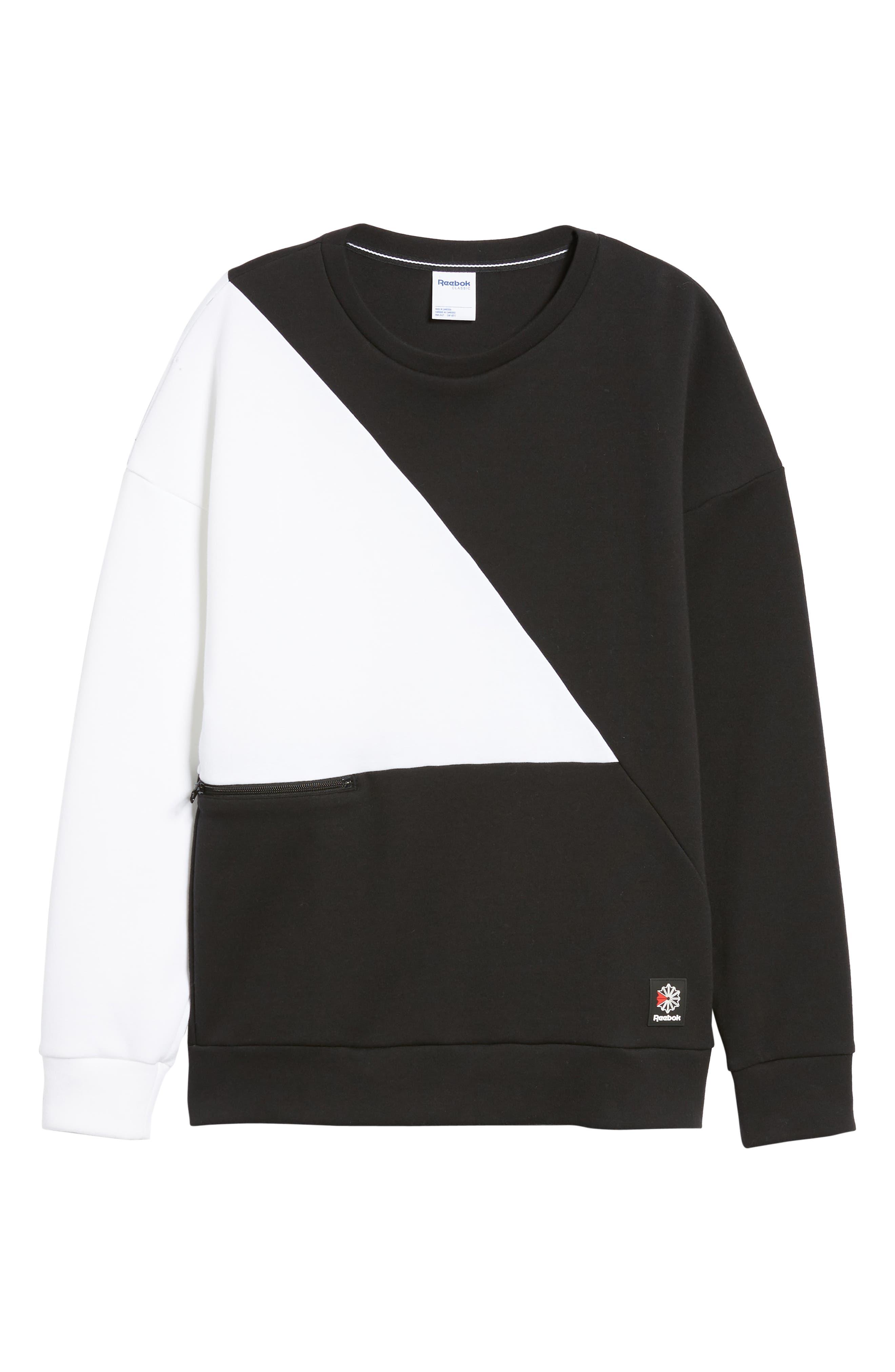 Colorblock Crewneck Pullover,                             Alternate thumbnail 6, color,                             BLACK/WHITE
