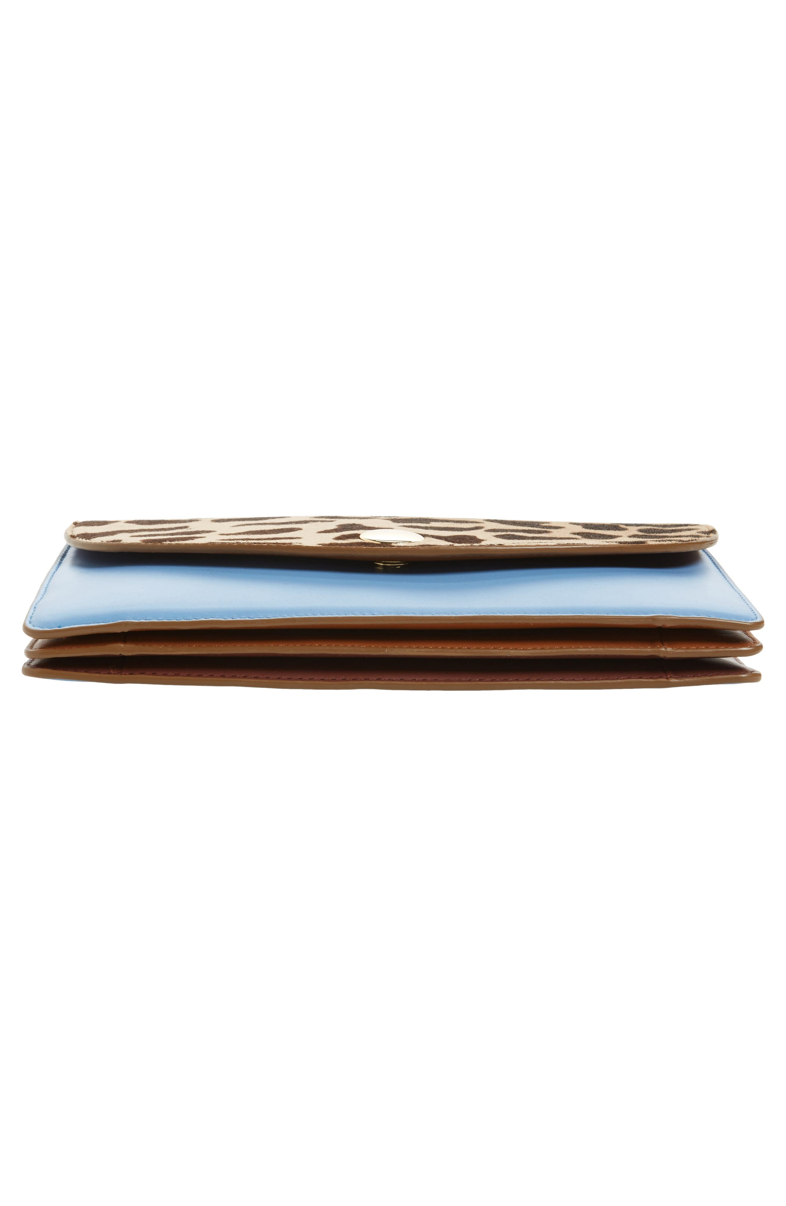 Convertible Leather & Genuine Calf Hair Saddle Clutch,                             Alternate thumbnail 6, color,                             200