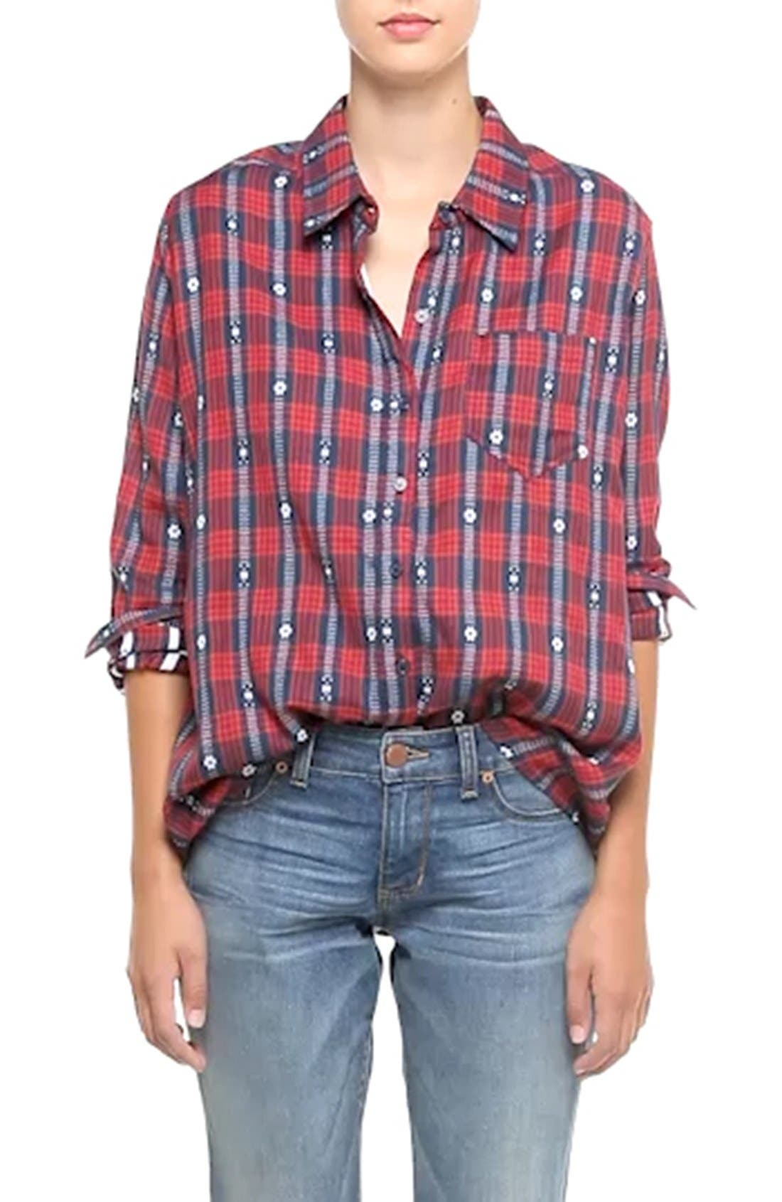 Embroidered Plaid Shirt,                             Alternate thumbnail 3, color,                             625