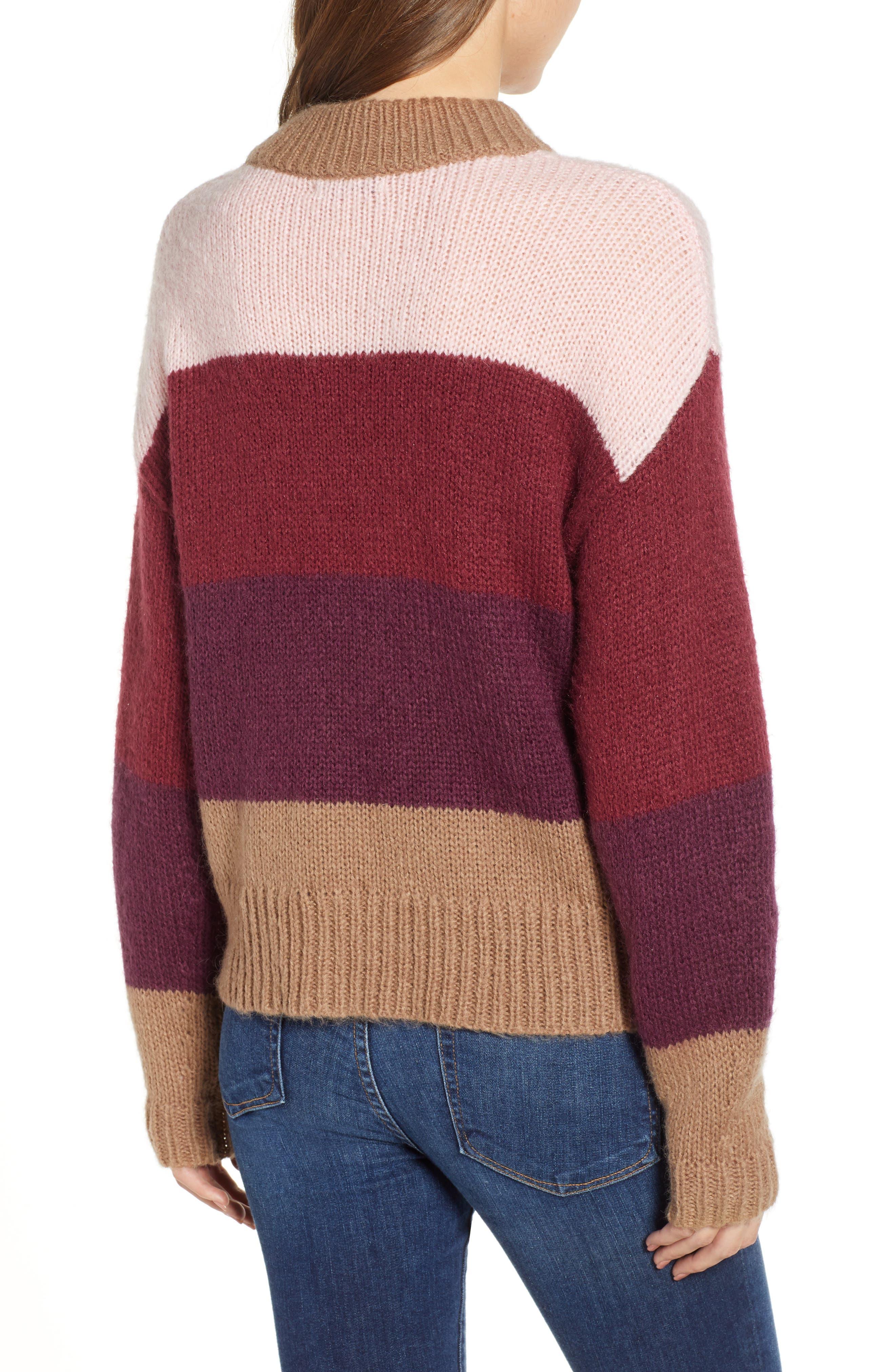 Kendall Stripe Sweater,                             Alternate thumbnail 2, color,                             CAMEL MULTI