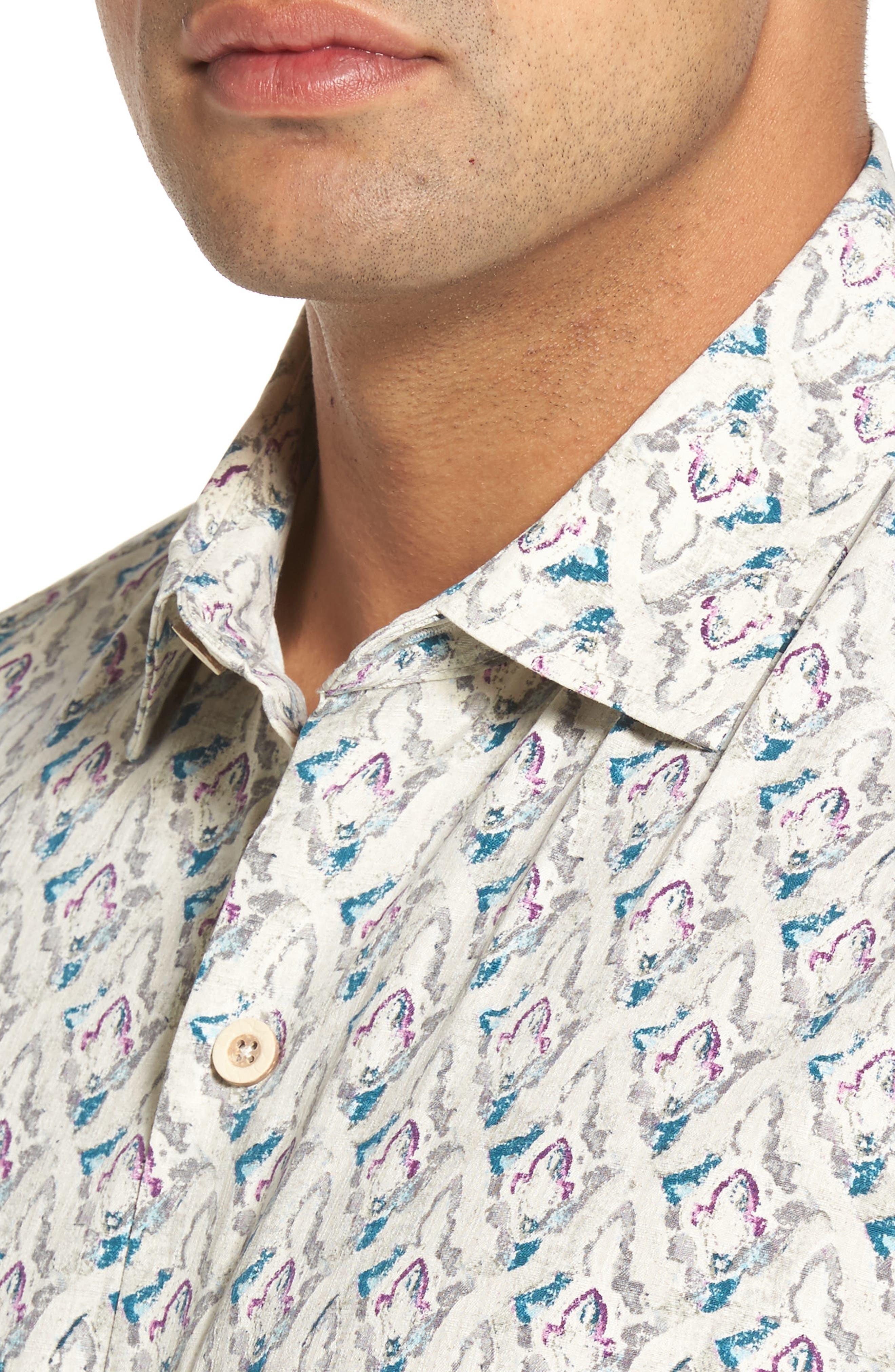 Alcazar Tiles Standard Fit Silk Camp Shirt,                             Alternate thumbnail 4, color,                             200
