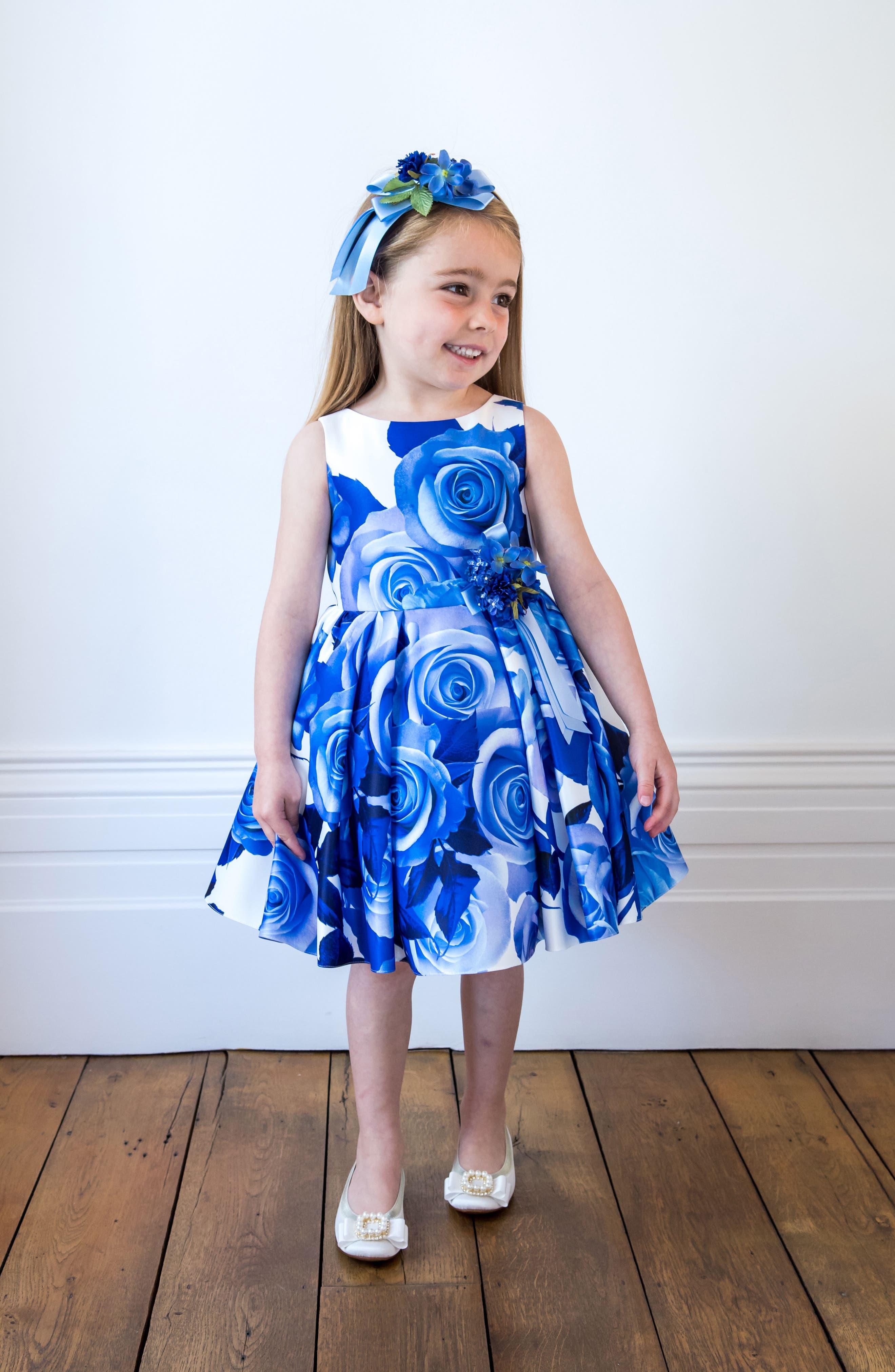 Rose Print Sleeveless Dress,                             Alternate thumbnail 4, color,                             420
