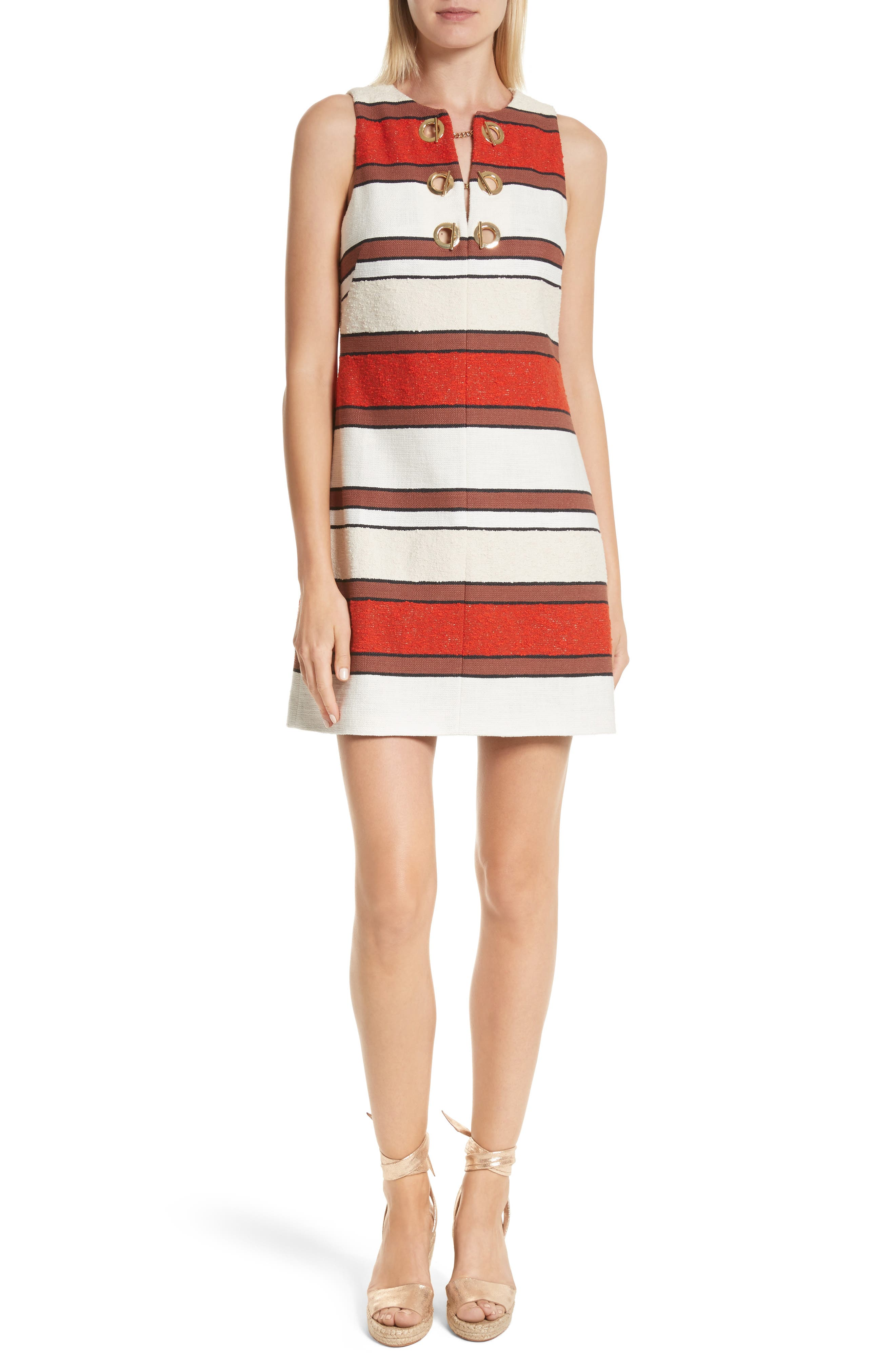 Grommet Detail Stripe Shift Dress,                         Main,                         color, 621