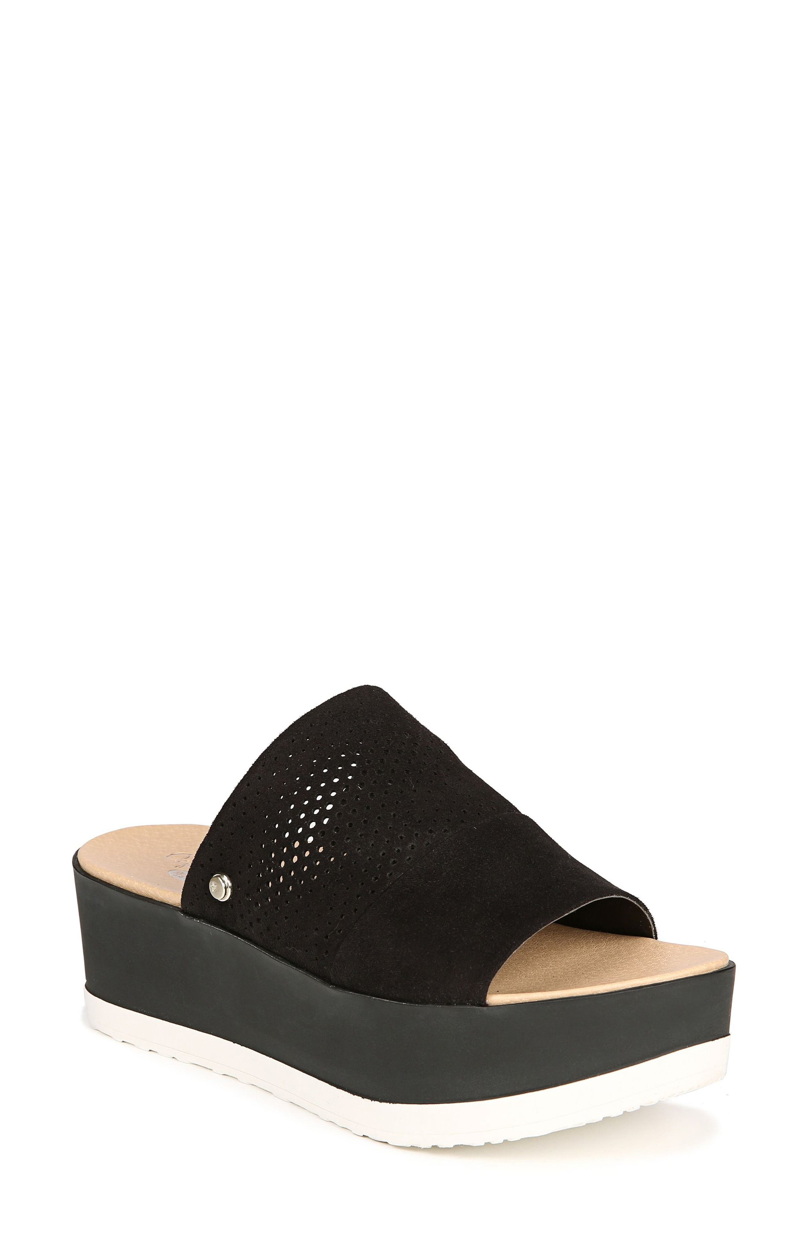 Collins Platform Sandal,                             Main thumbnail 1, color,                             BLACK FABRIC