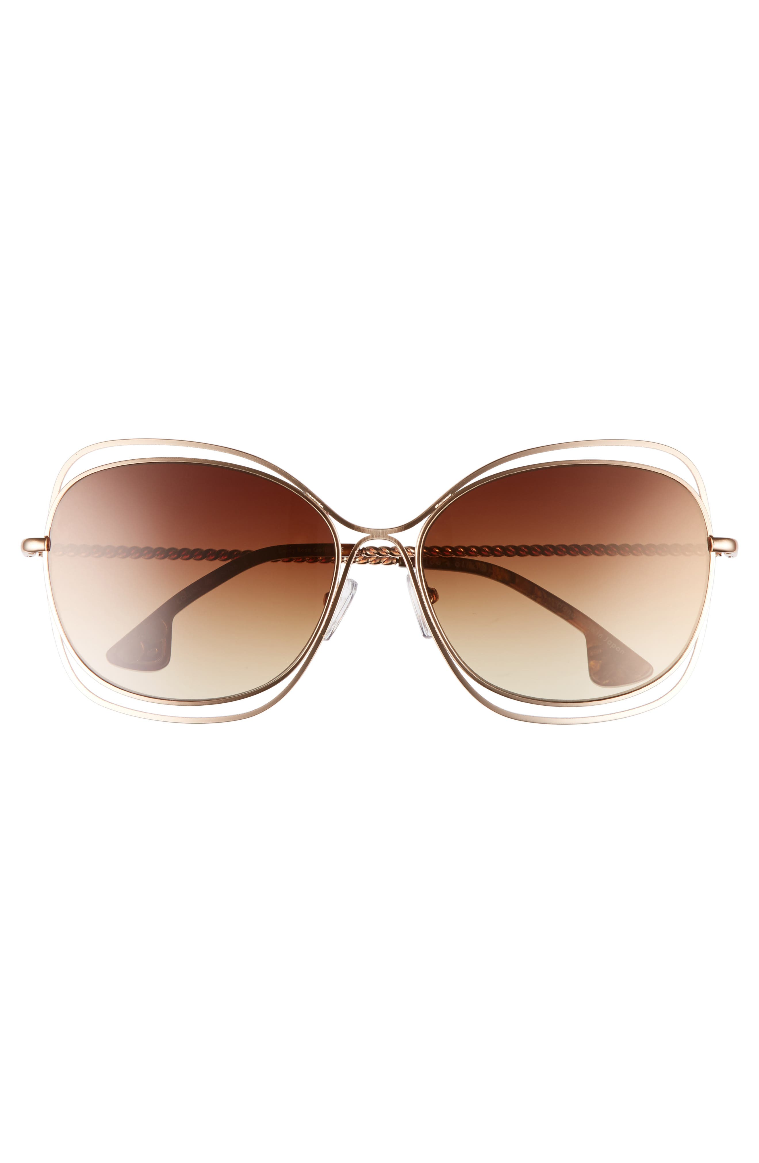 Collins 60mm Butterfly Sunglasses,                             Alternate thumbnail 3, color,                             220