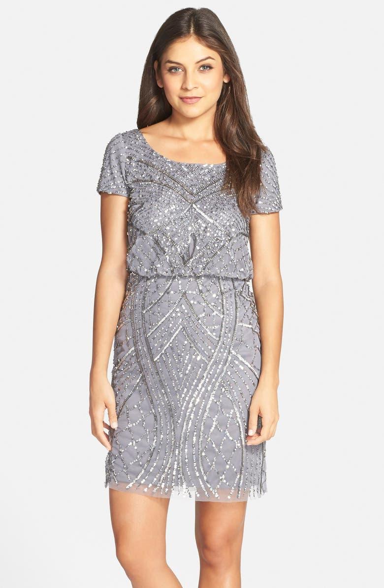 4d0d42eaacf Adrianna Papell Short Sleeve Beaded Blouson Dress