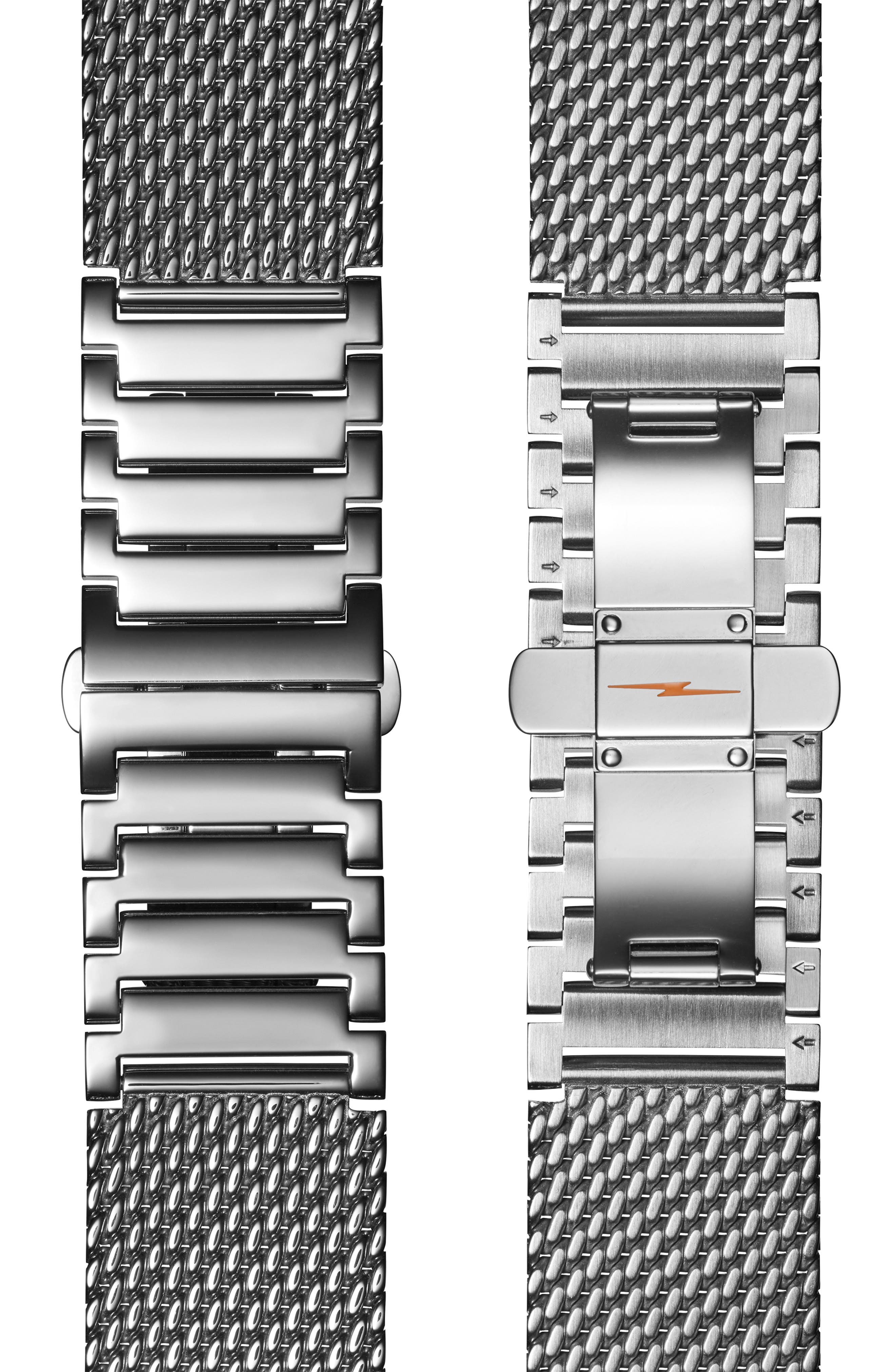 The Canfield Mesh Bracelet Watch, 43mm,                             Alternate thumbnail 5, color,                             GUNMETAL/ BLACK/ GUNMETAL
