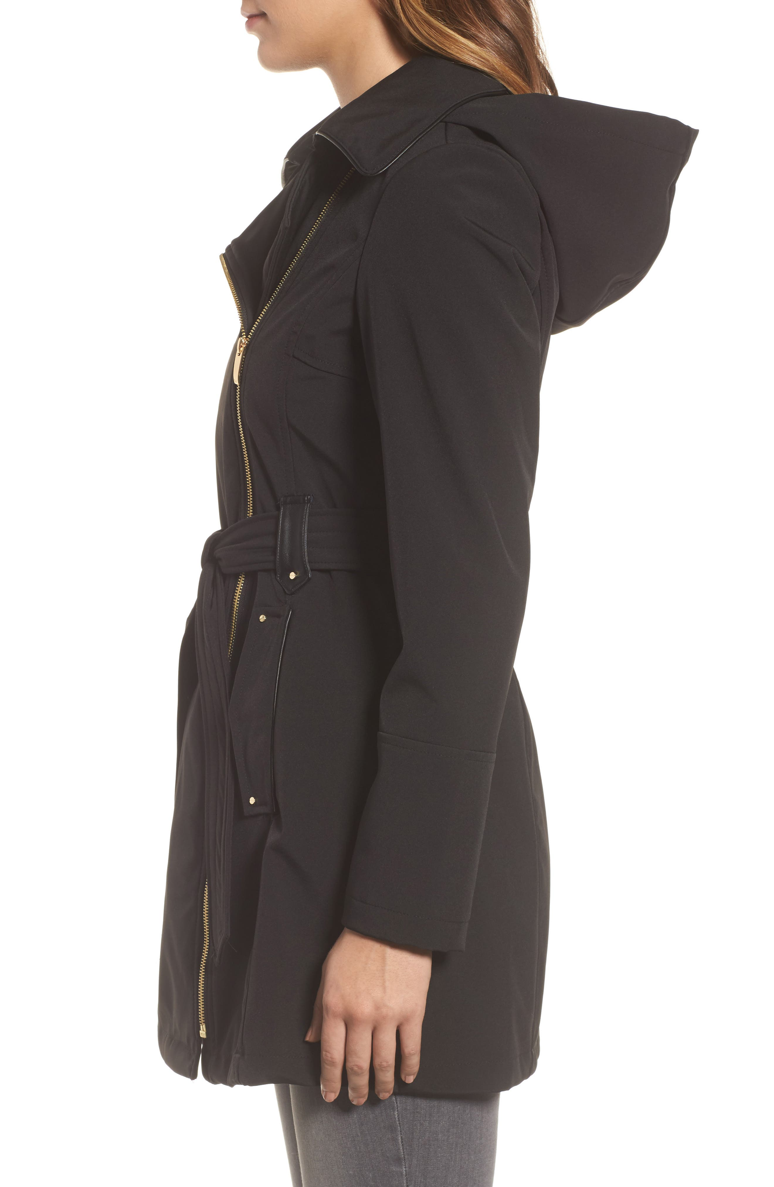 Belted Soft Shell Jacket,                             Alternate thumbnail 3, color,                             001