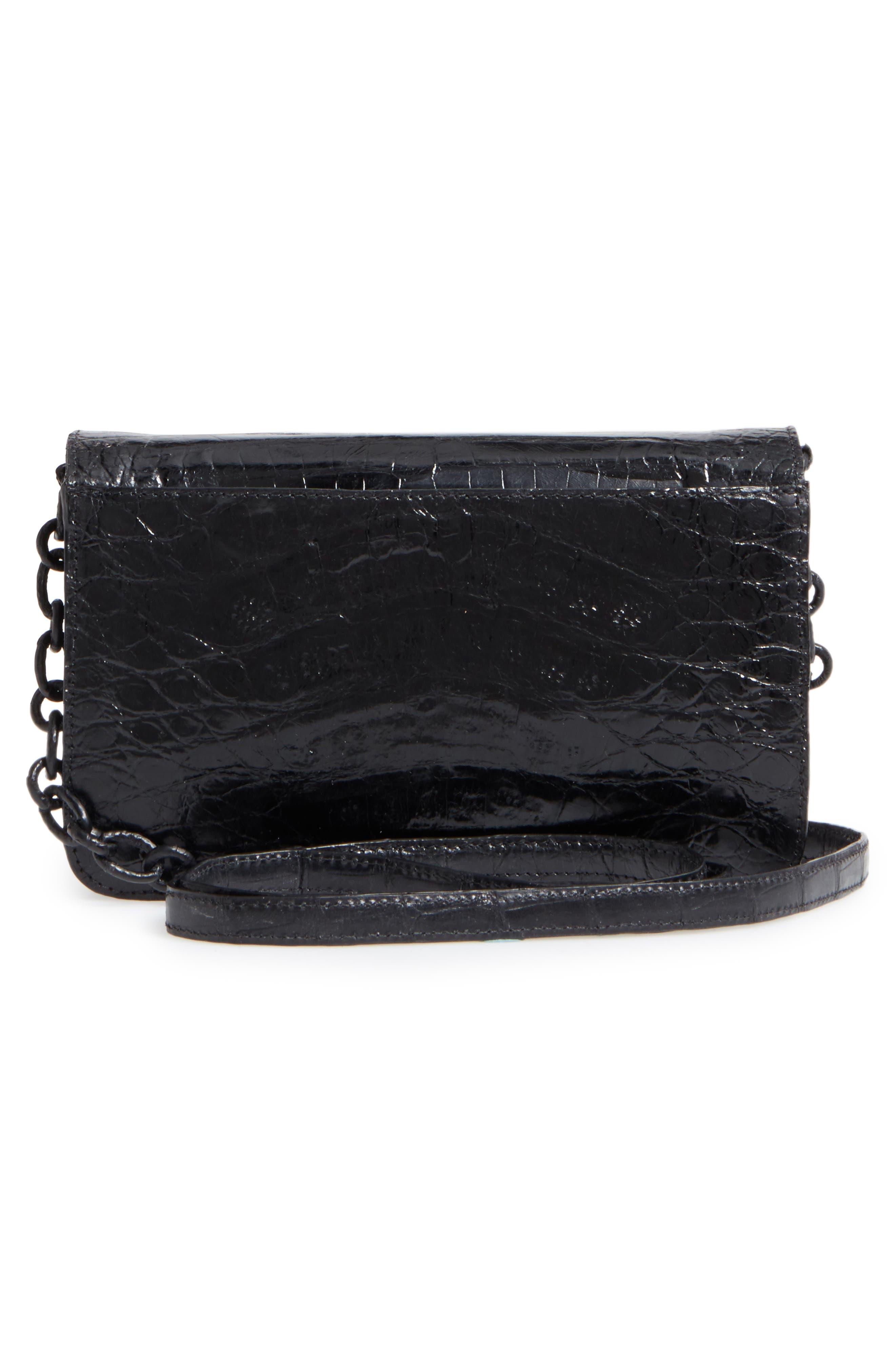 NANCY GONZALEZ,                             Genuine Crocodile Wallet on a Chain,                             Alternate thumbnail 3, color,                             BLACK SHINY