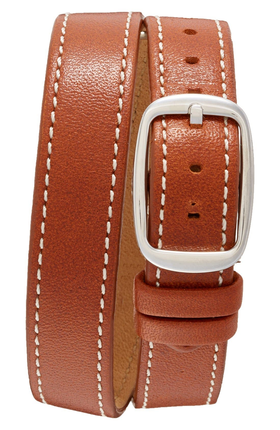 Cass Leather Strap Watch, 28mm,                             Alternate thumbnail 3, color,                             BROWN/ SILVER