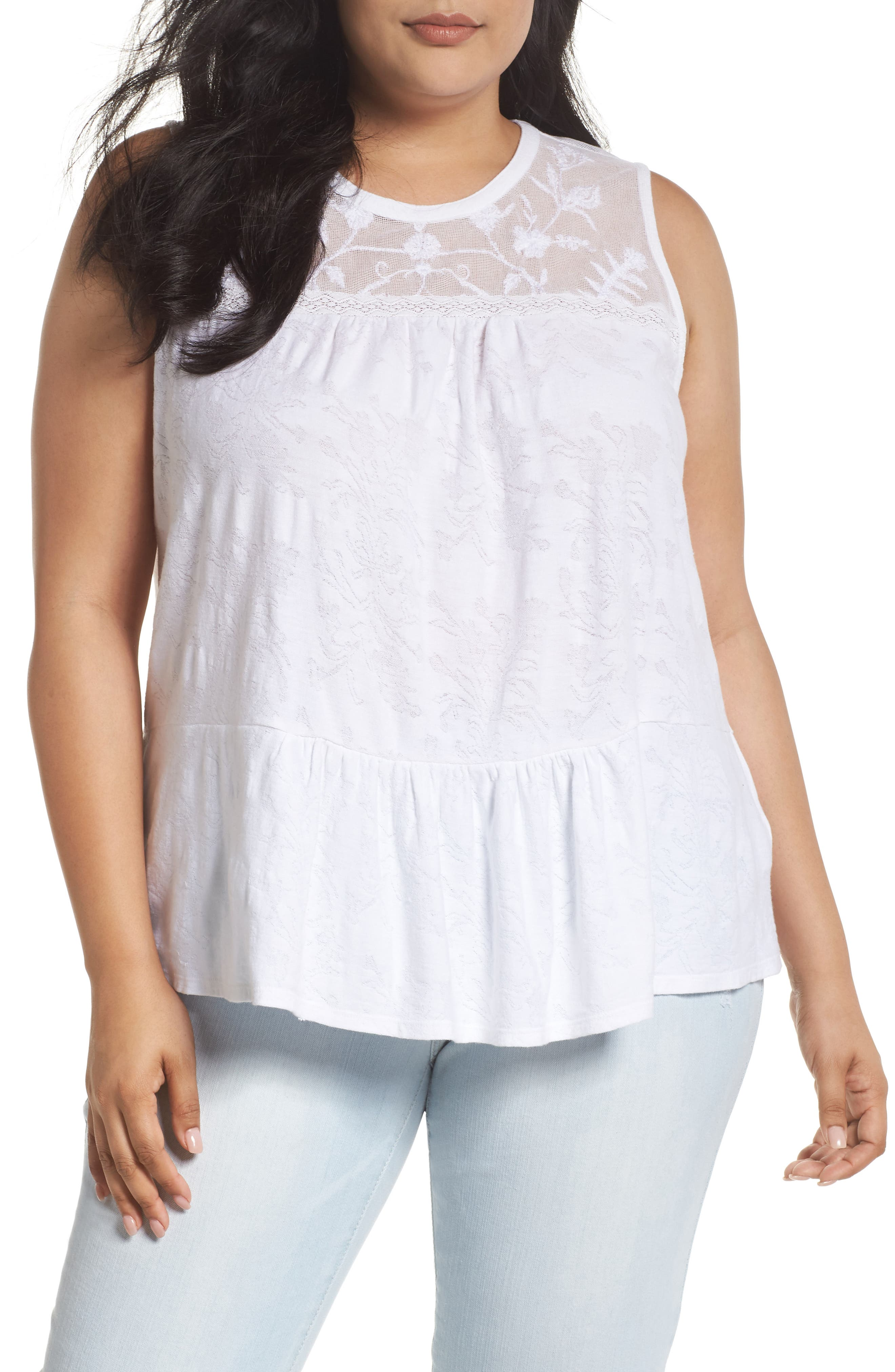 Lucky Tiered Jacquard Tank,                             Main thumbnail 1, color,                             011