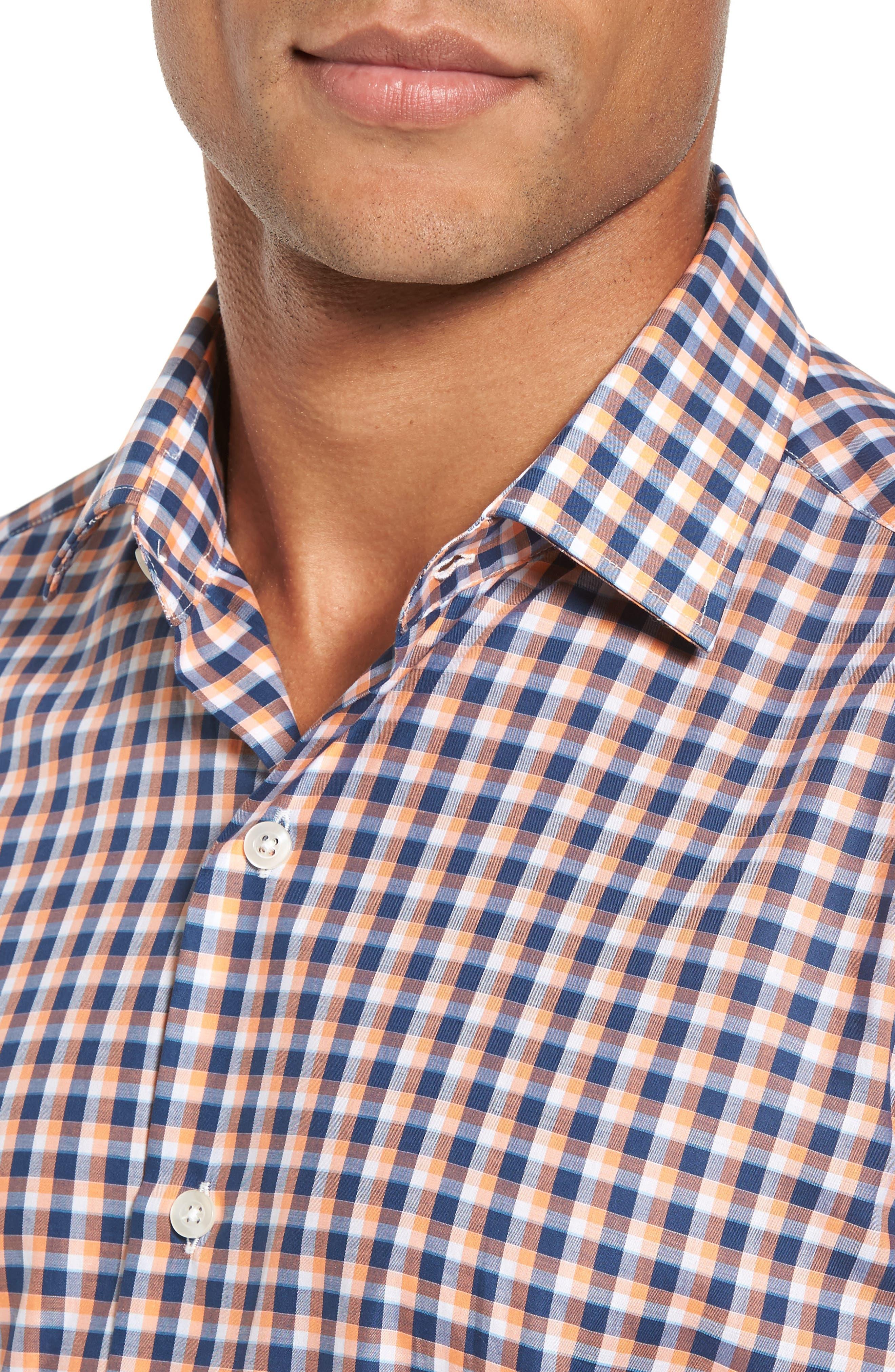 Slim Fit Check Twill Sport Shirt,                             Alternate thumbnail 4, color,                             800