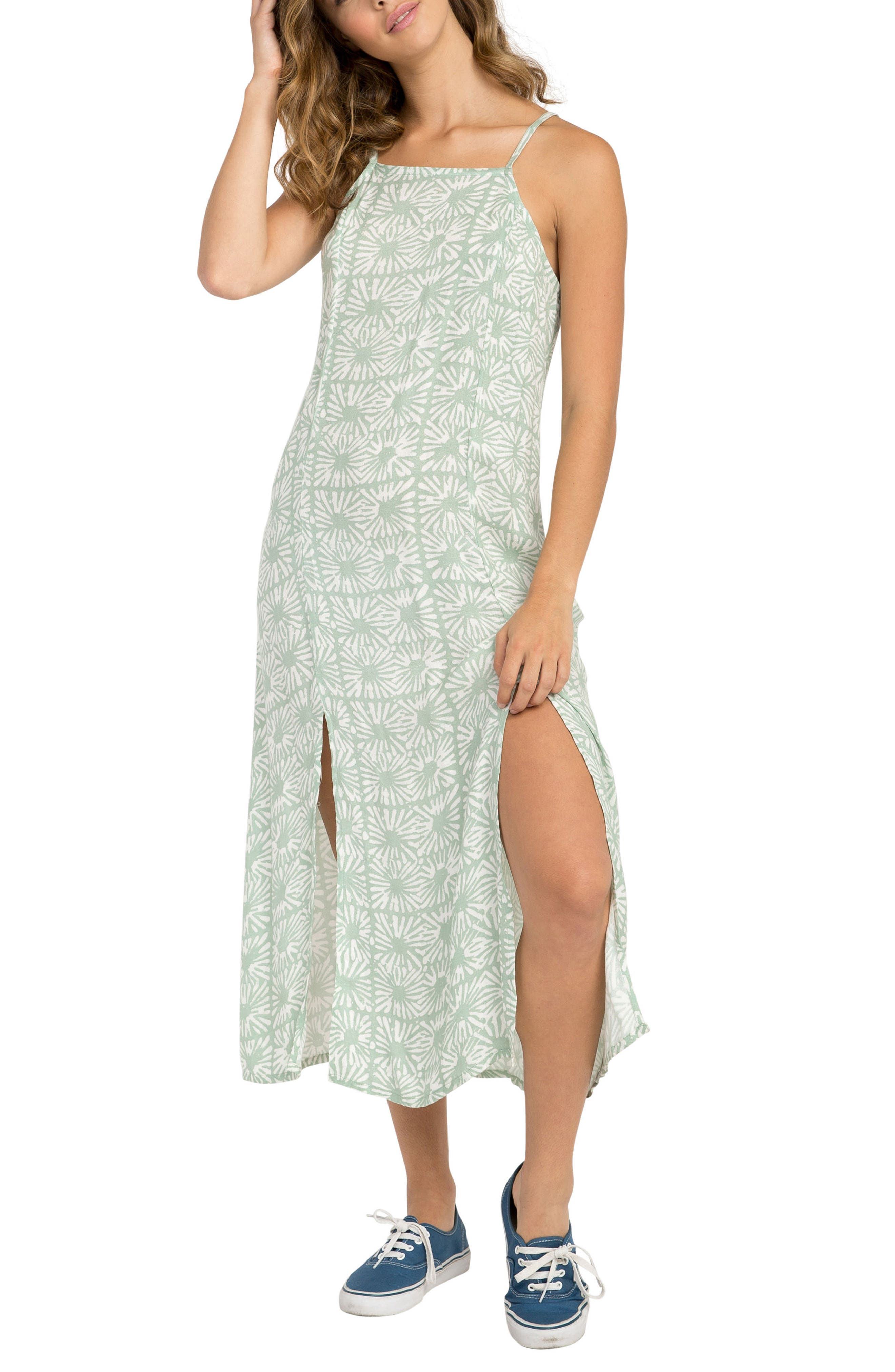 Garland Print Midi Dress,                         Main,                         color, 340