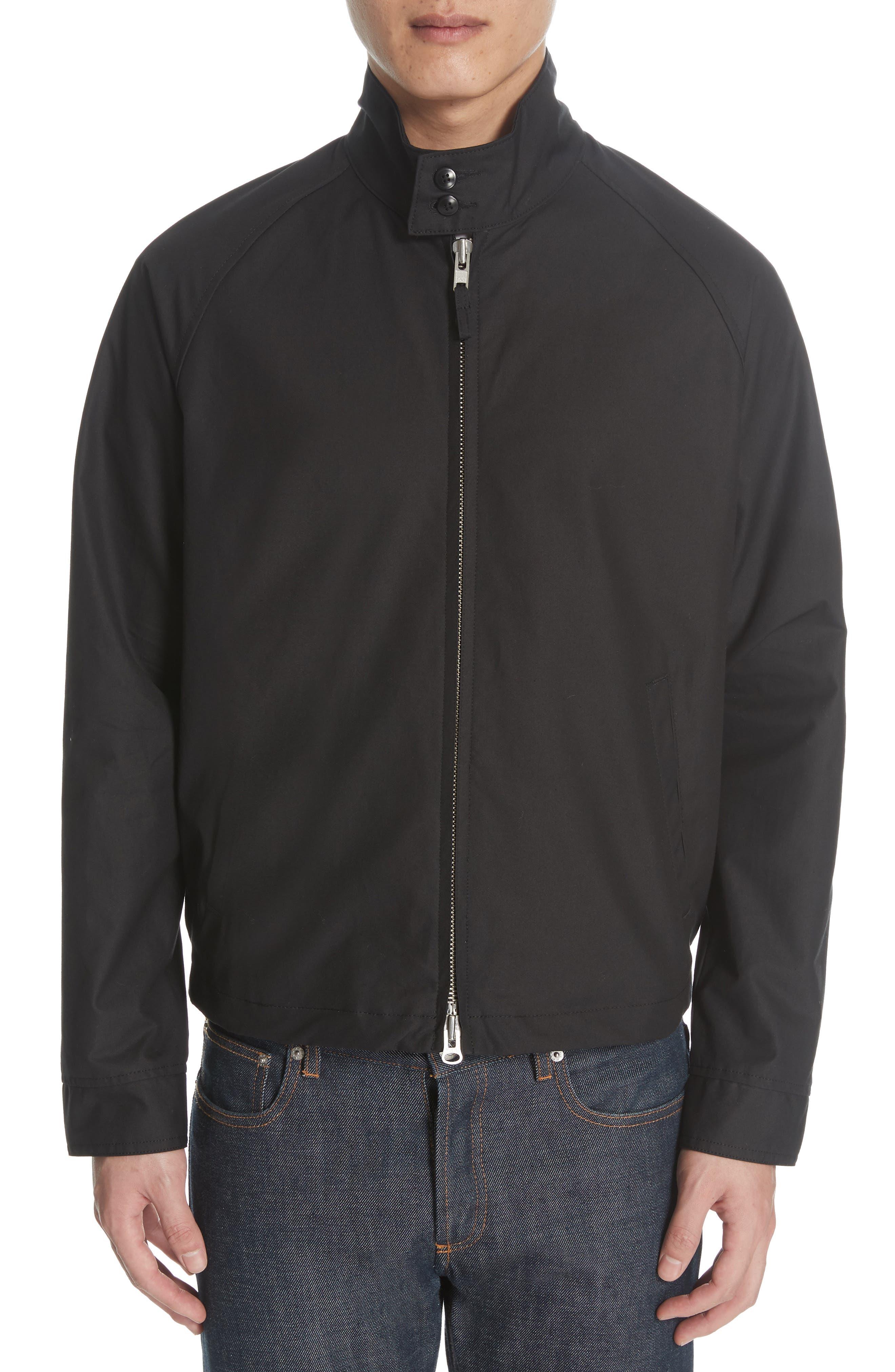 Harrington Waxed Cotton Jacket,                             Alternate thumbnail 2, color,                             BLACK