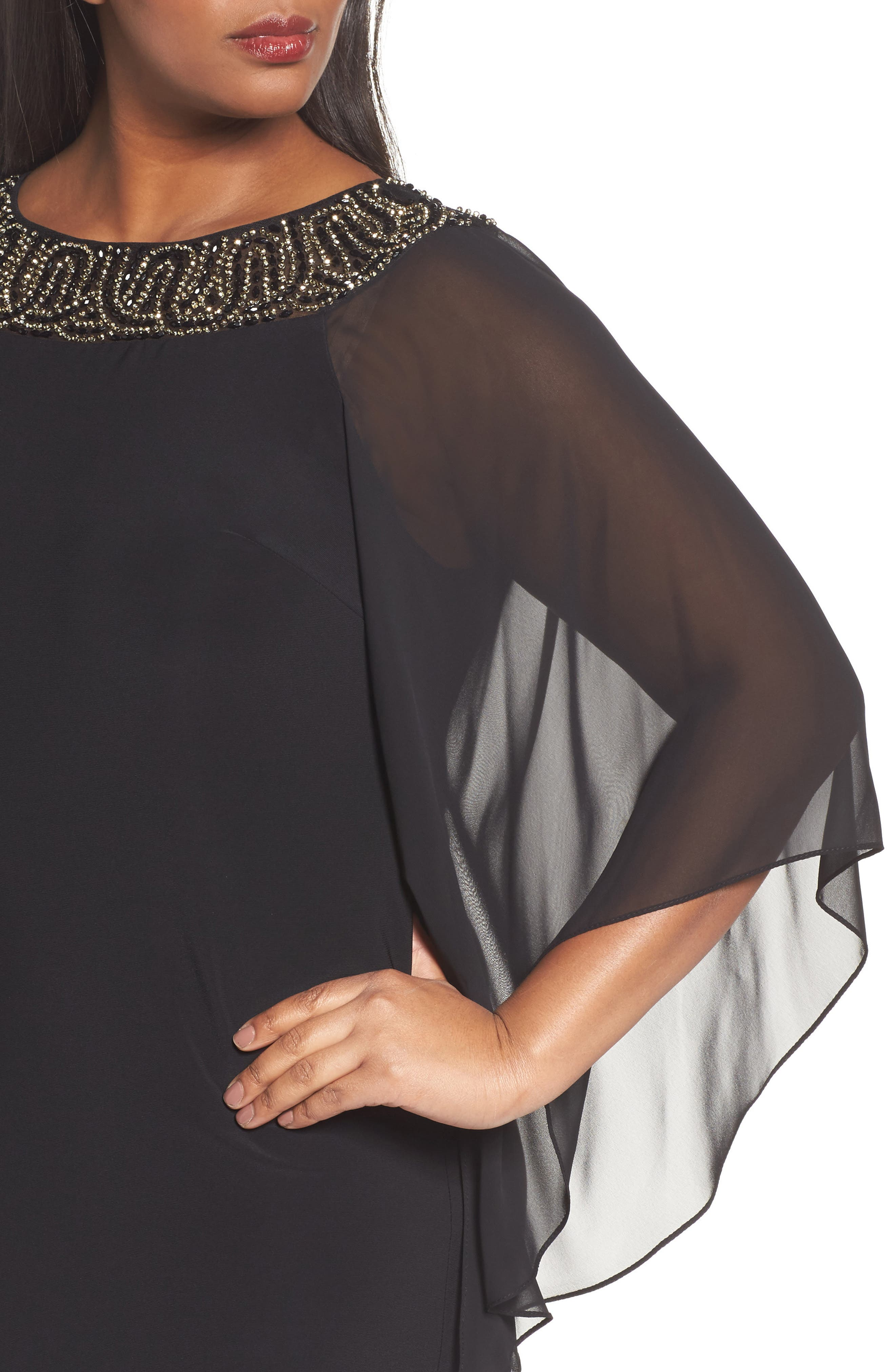 Beaded Chiffon Sleeve Sheath Dress,                             Alternate thumbnail 4, color,                             010