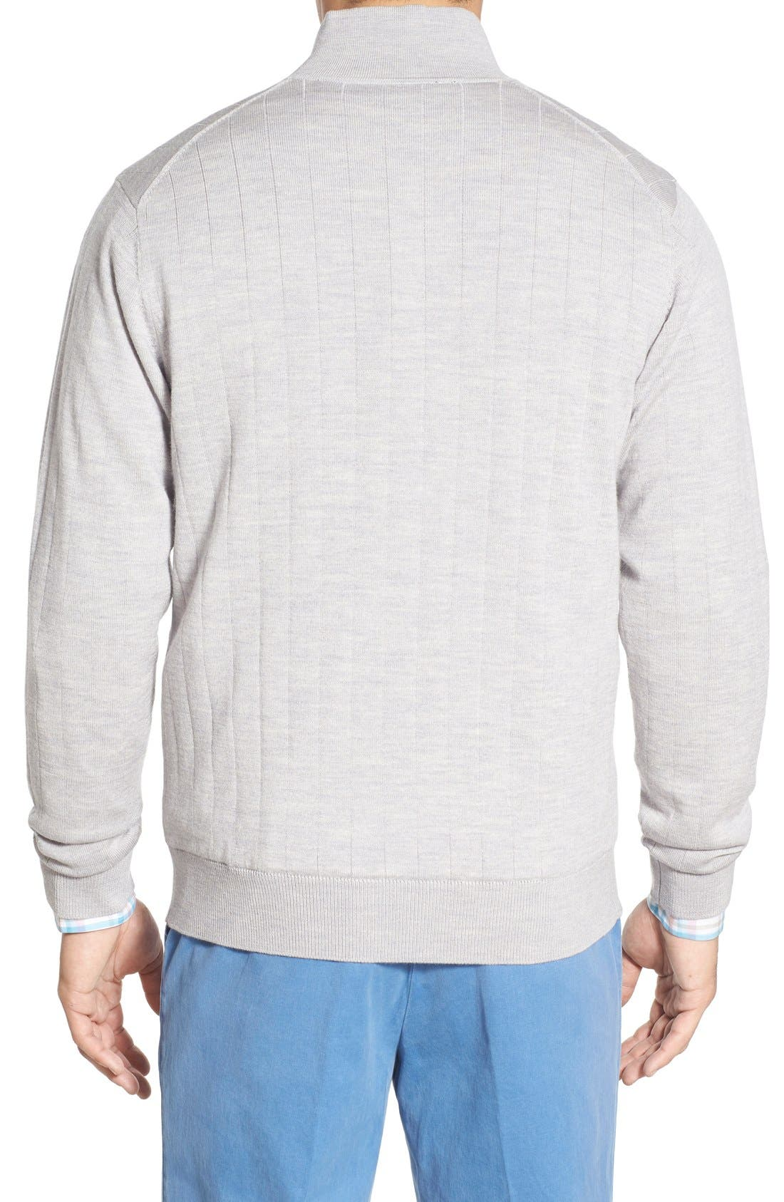 Windproof Merino Wool Quarter Zip Sweater,                             Alternate thumbnail 2, color,                             HEATHER GREY