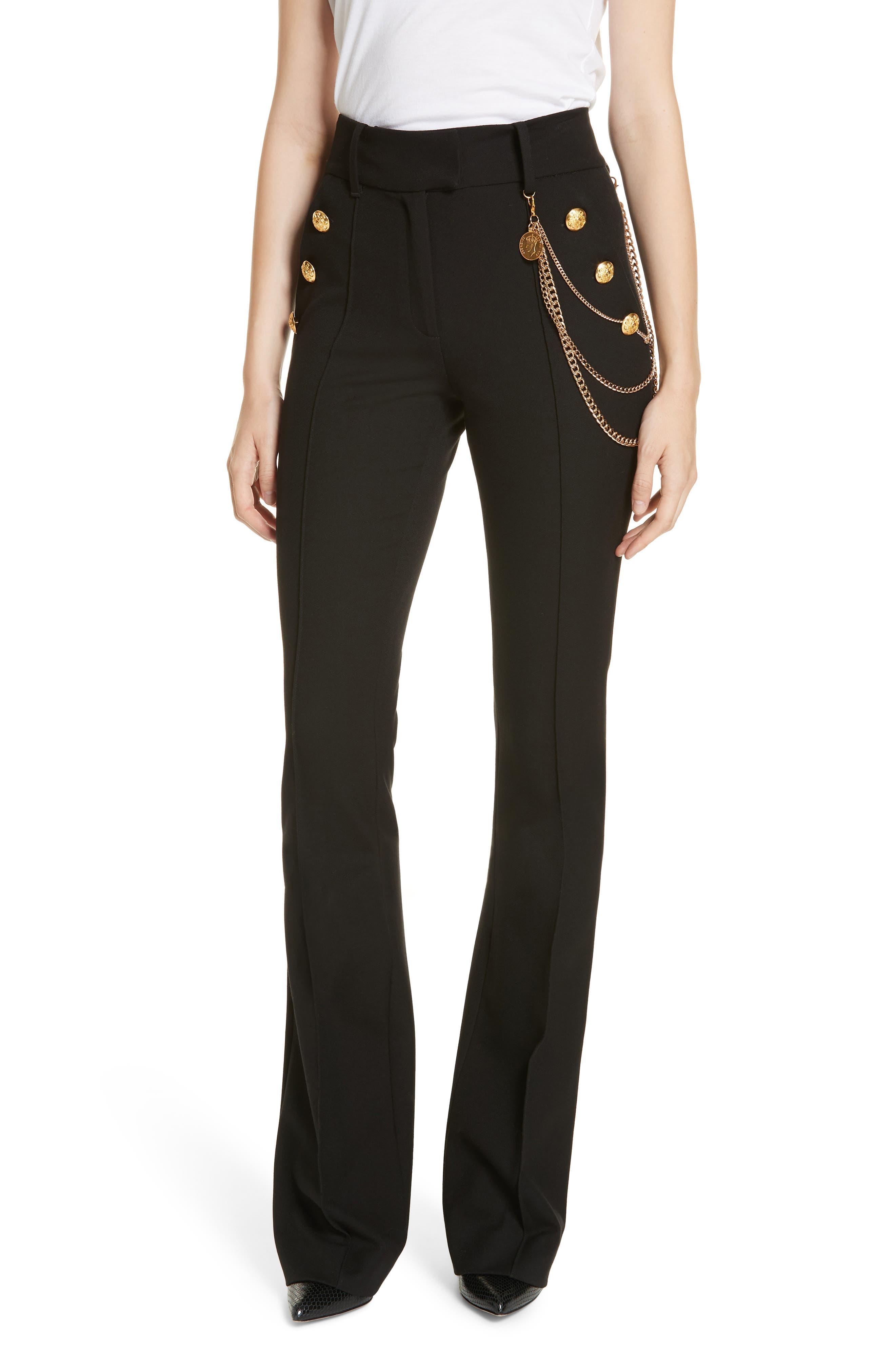 Alair Chain Detail Sailor Trousers,                             Main thumbnail 1, color,                             BLACK