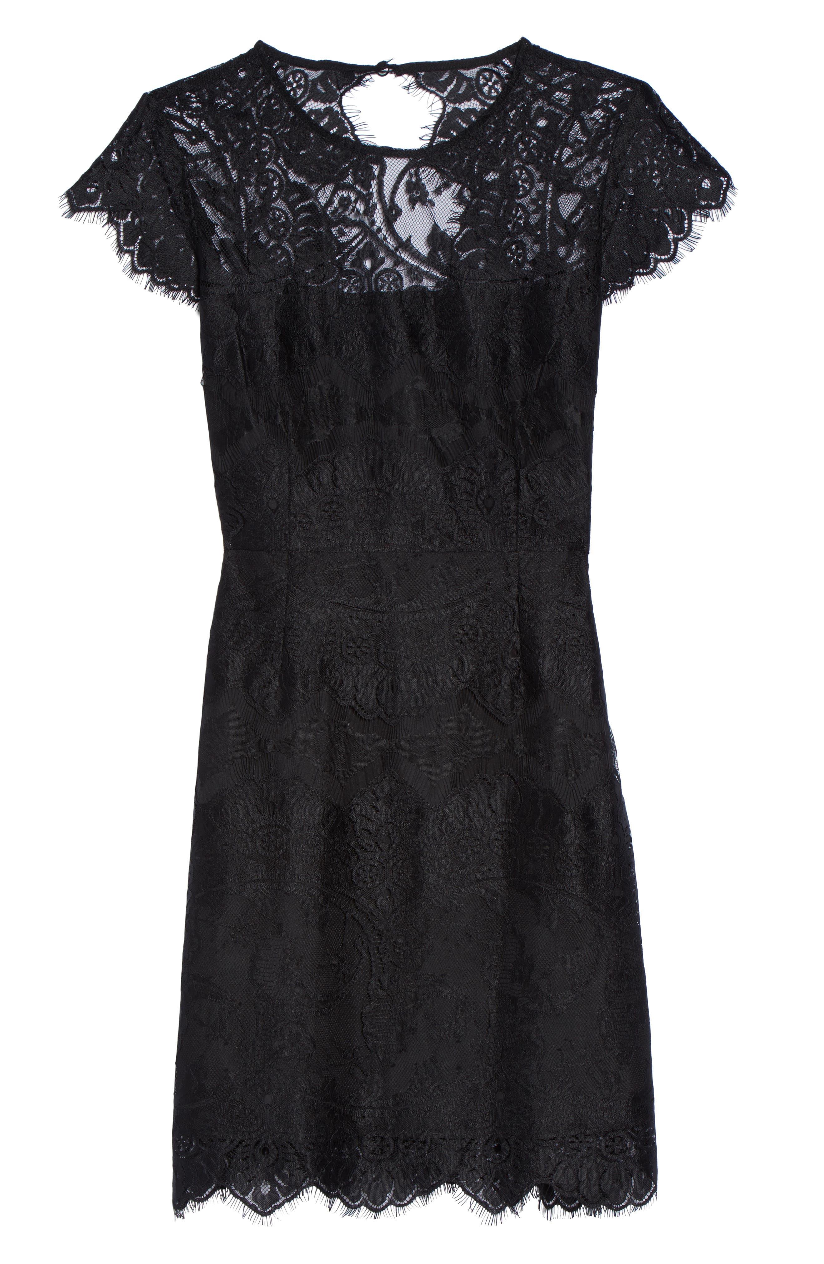 Jayce Lace Sheath Dress,                             Alternate thumbnail 6, color,                             BLACK