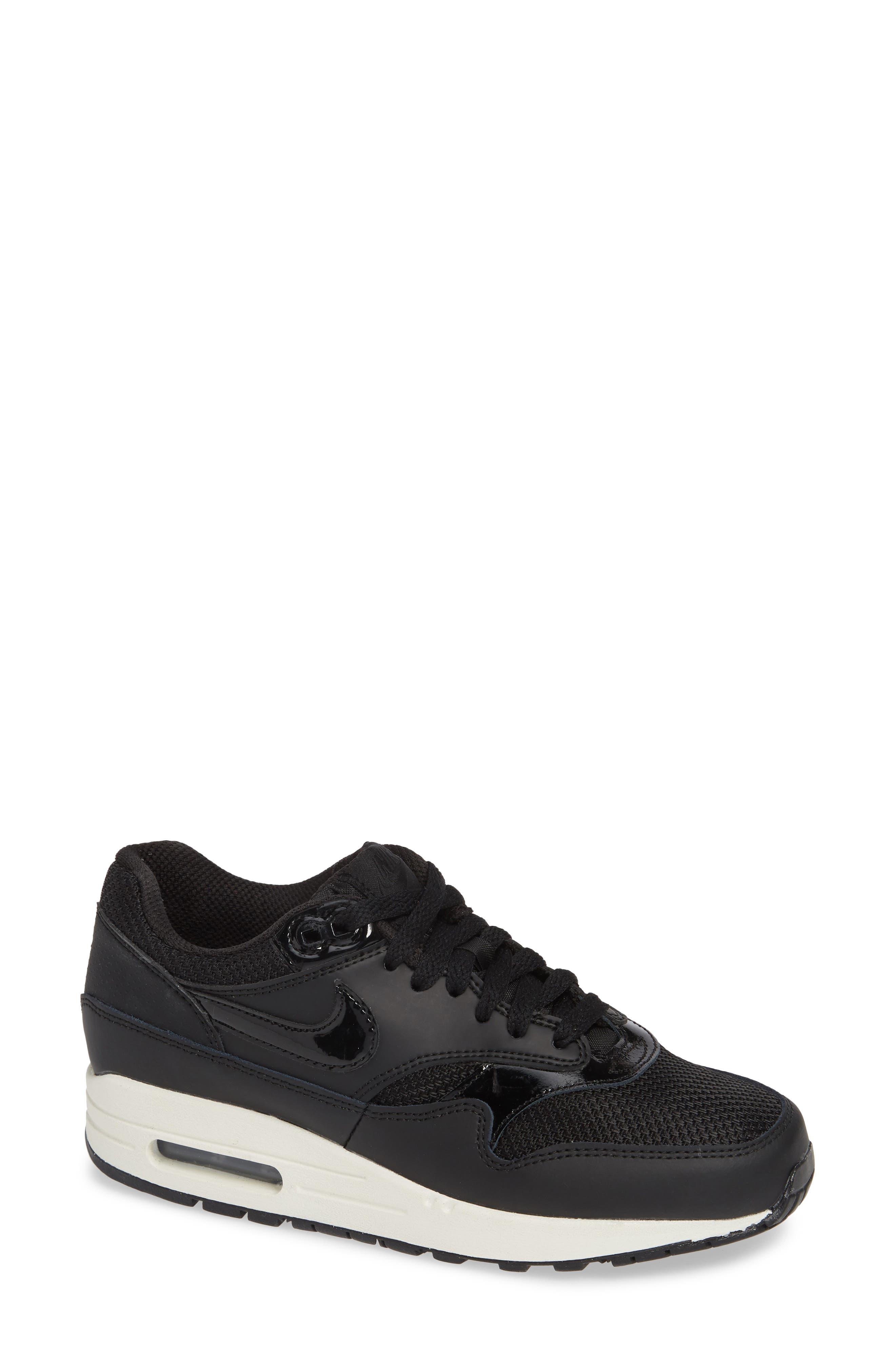 'Air Max 1 ND' Sneaker,                             Main thumbnail 1, color,                             BLACK/ BLACK-BLACK- WHITE