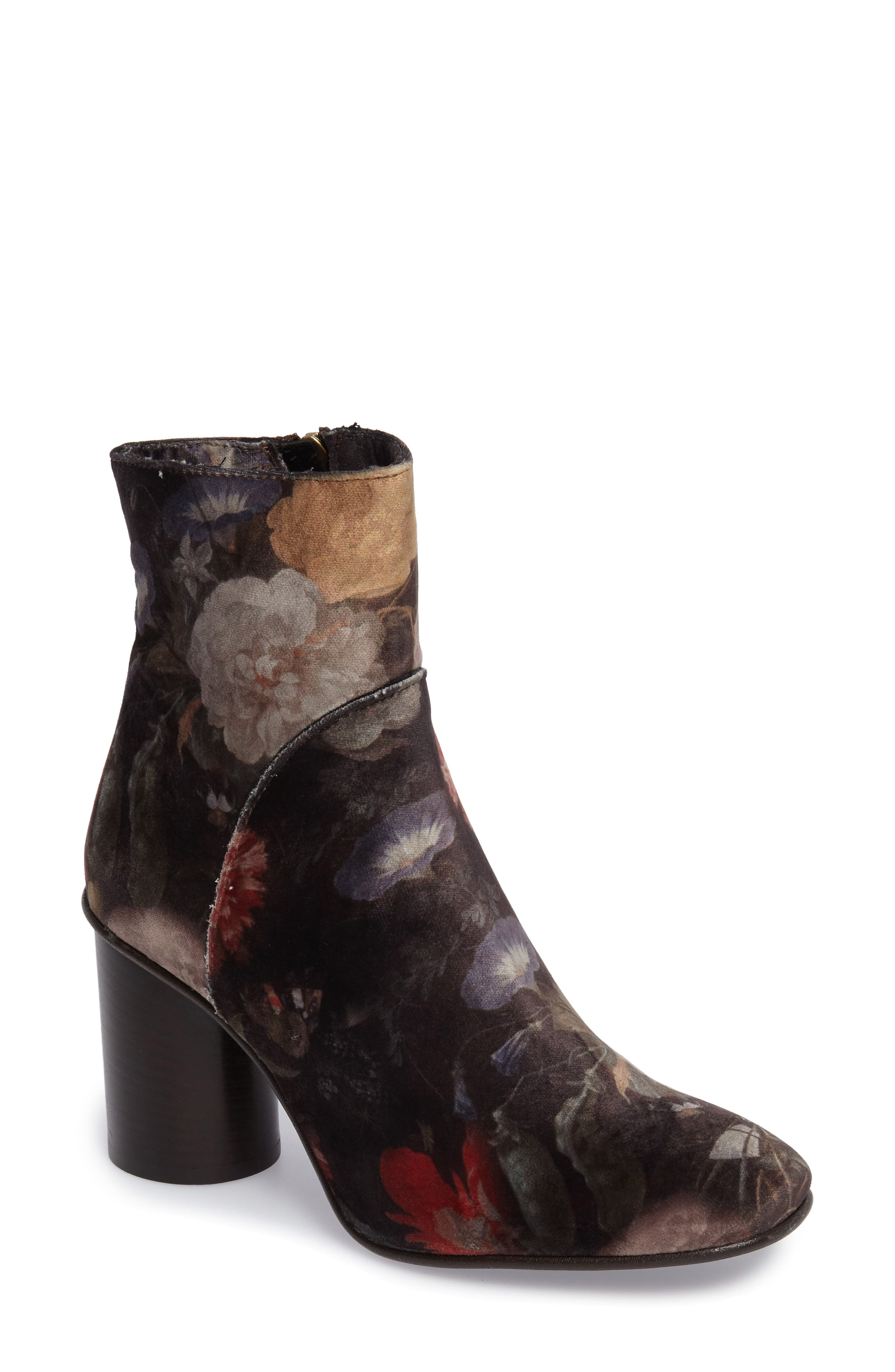Lilly Velvet Floral Bootie,                             Main thumbnail 1, color,                             BLACK FABRIC