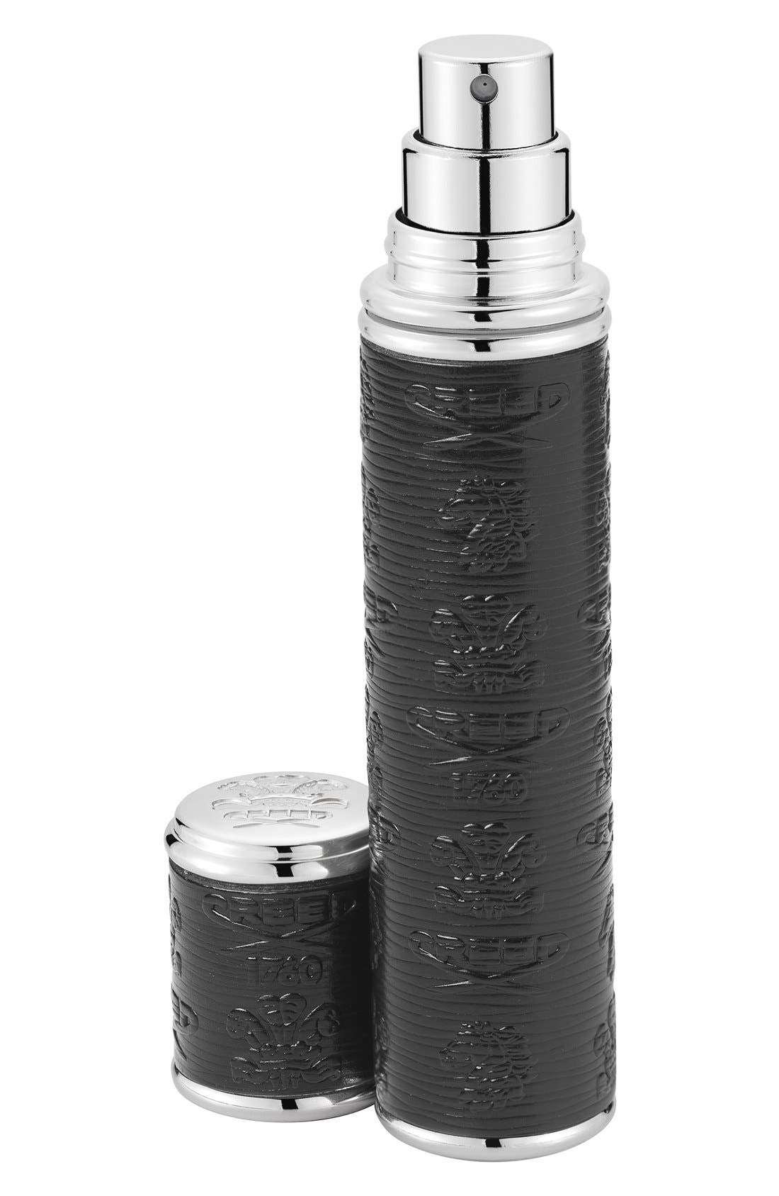 Black Leather with Silver Trim Pocket Atomizer,                         Main,                         color, 000