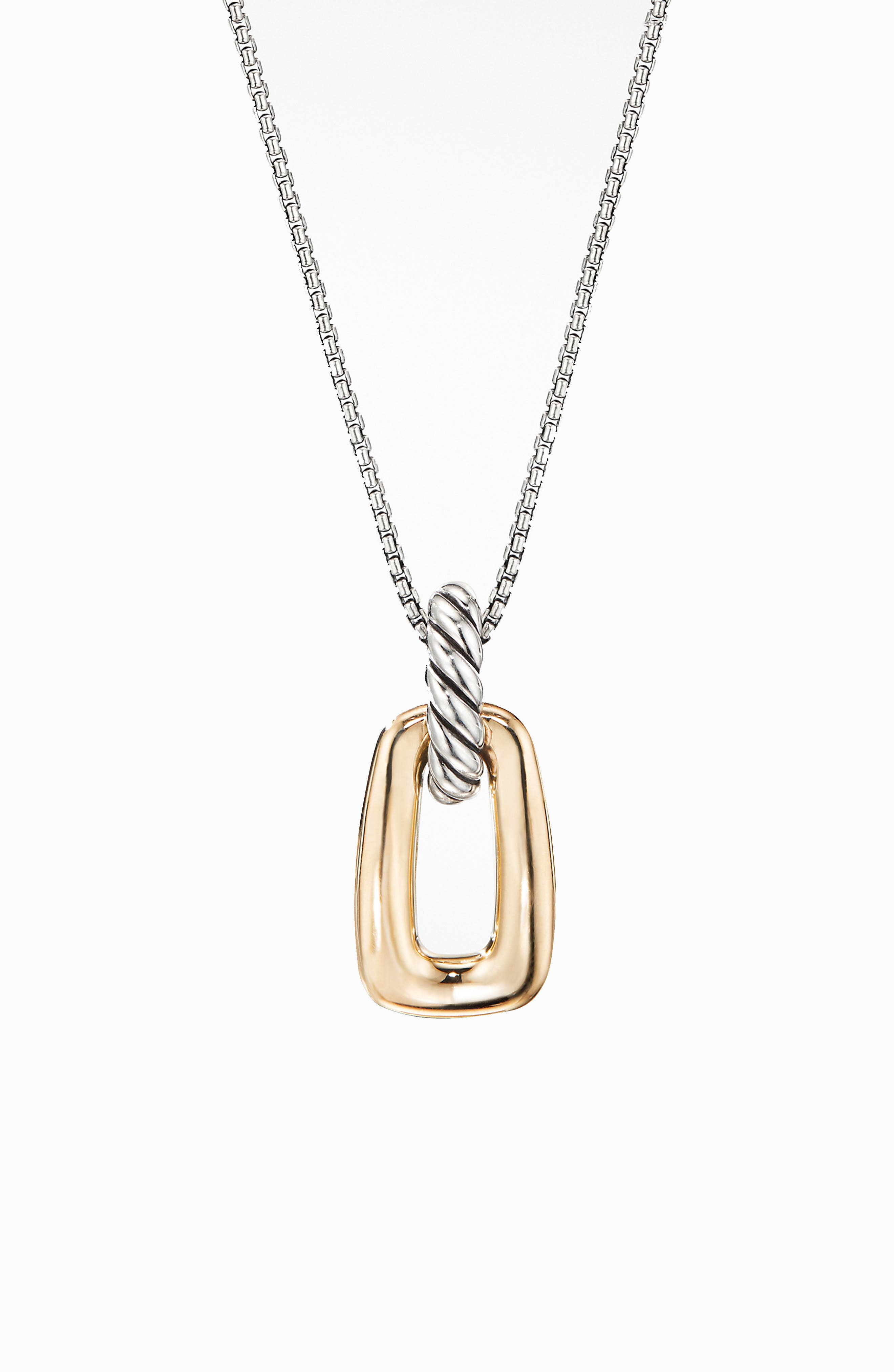 DAVID YURMAN,                             Wellesley Link Pendant Necklace with 18K Gold,                             Main thumbnail 1, color,                             18K YELLOW GOLD/ SILVER