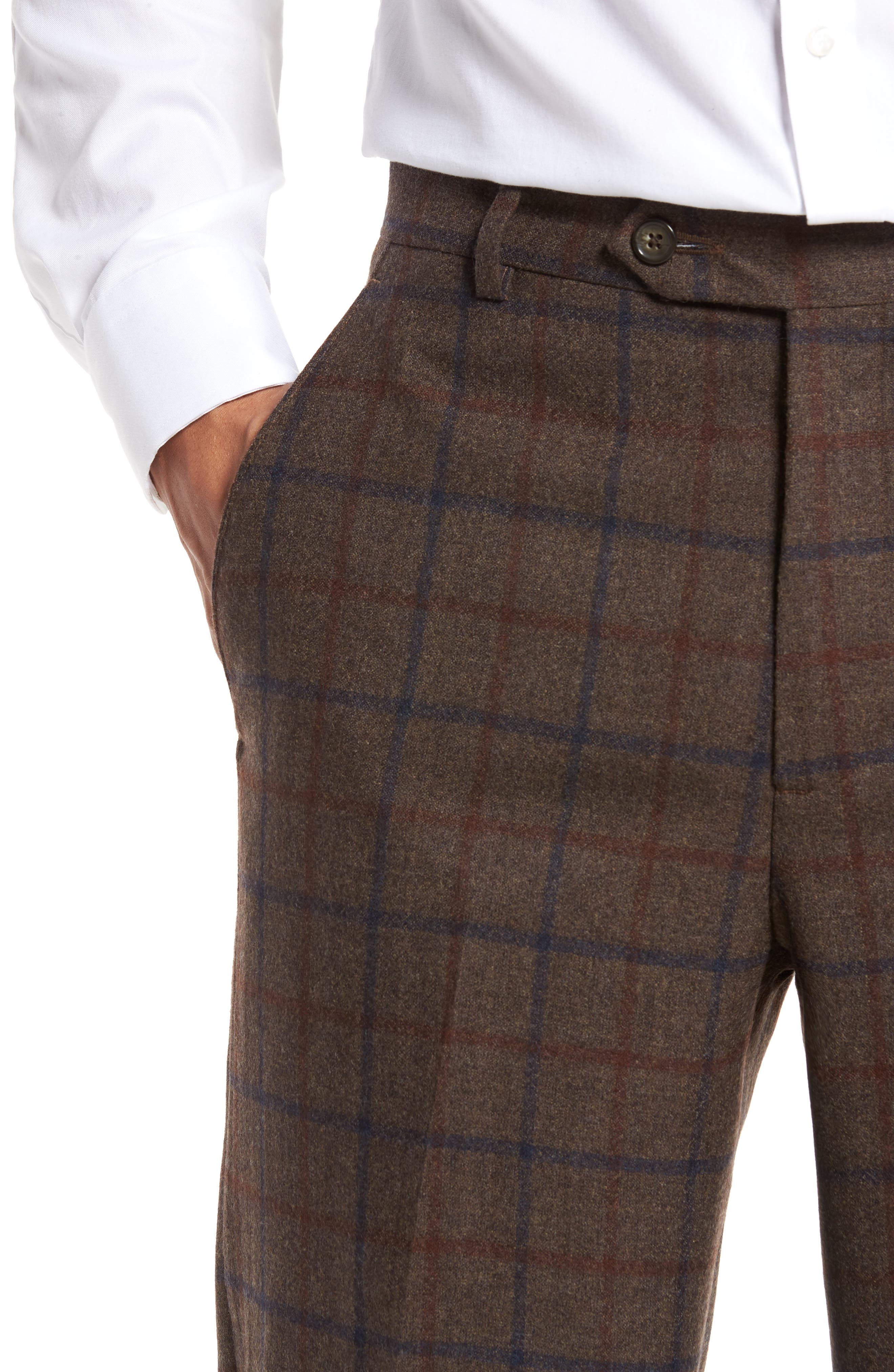 Flat Front Windowpane Wool Trousers,                             Alternate thumbnail 5, color,