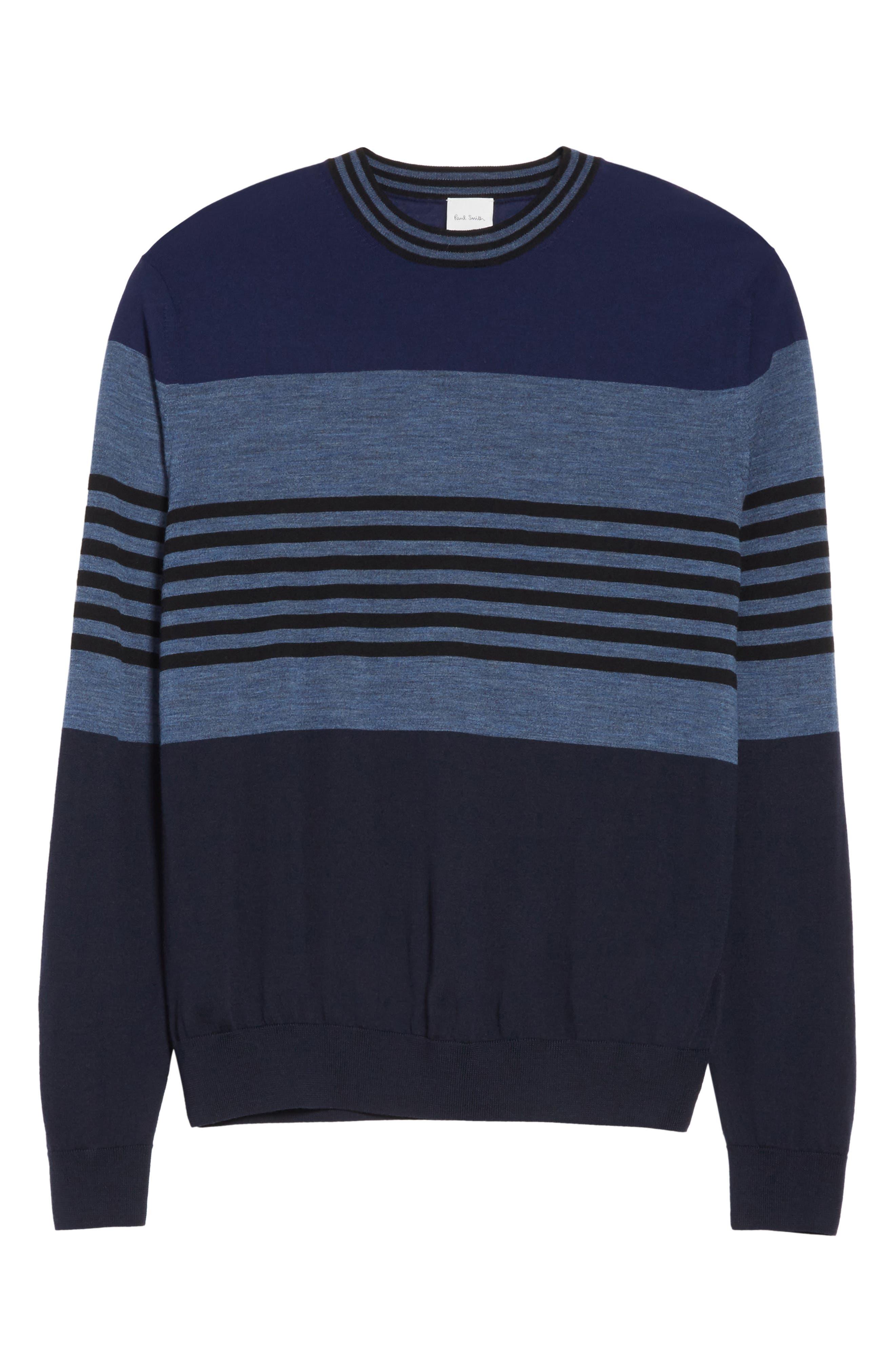 Stripe Merino Wool Crewneck Sweater,                             Alternate thumbnail 12, color,