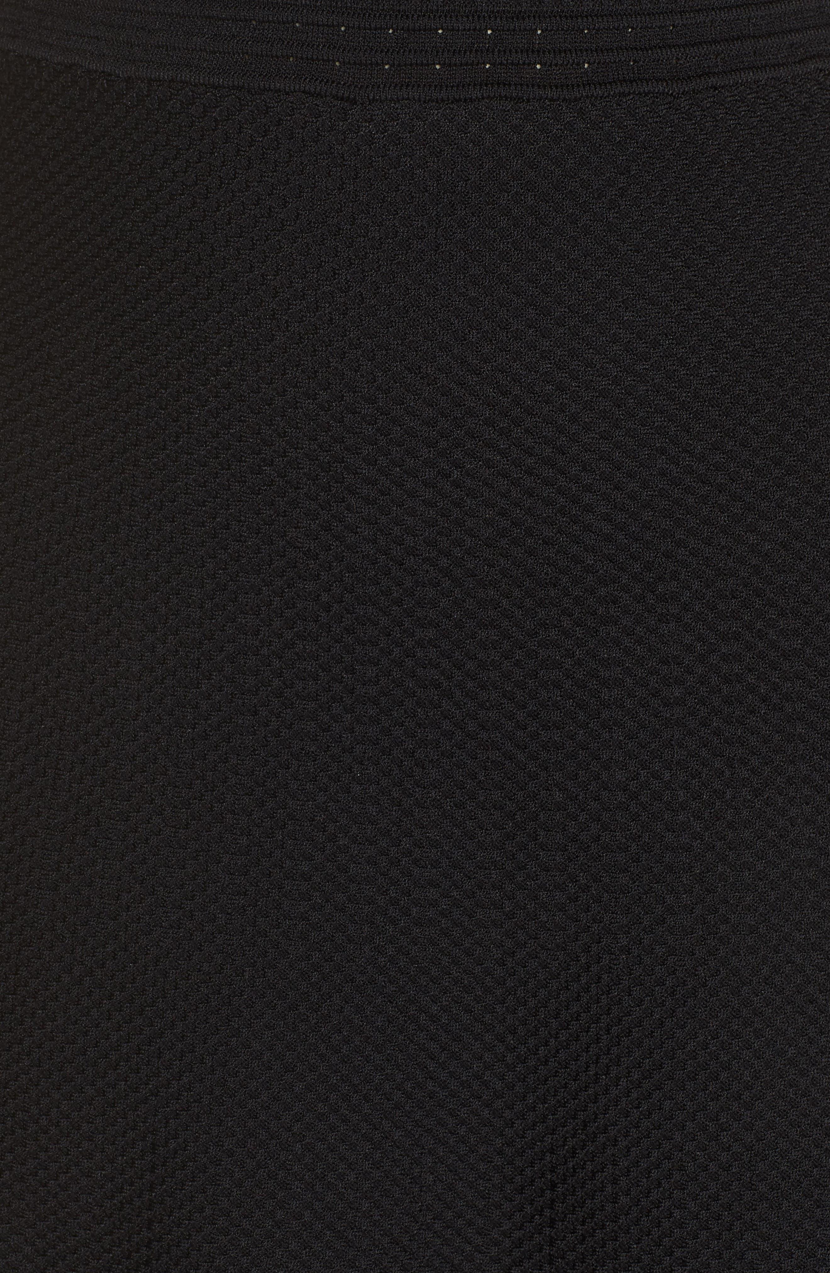 Ellie Knits V-Neck Fit & Flare Dress,                             Alternate thumbnail 6, color,                             BLACK