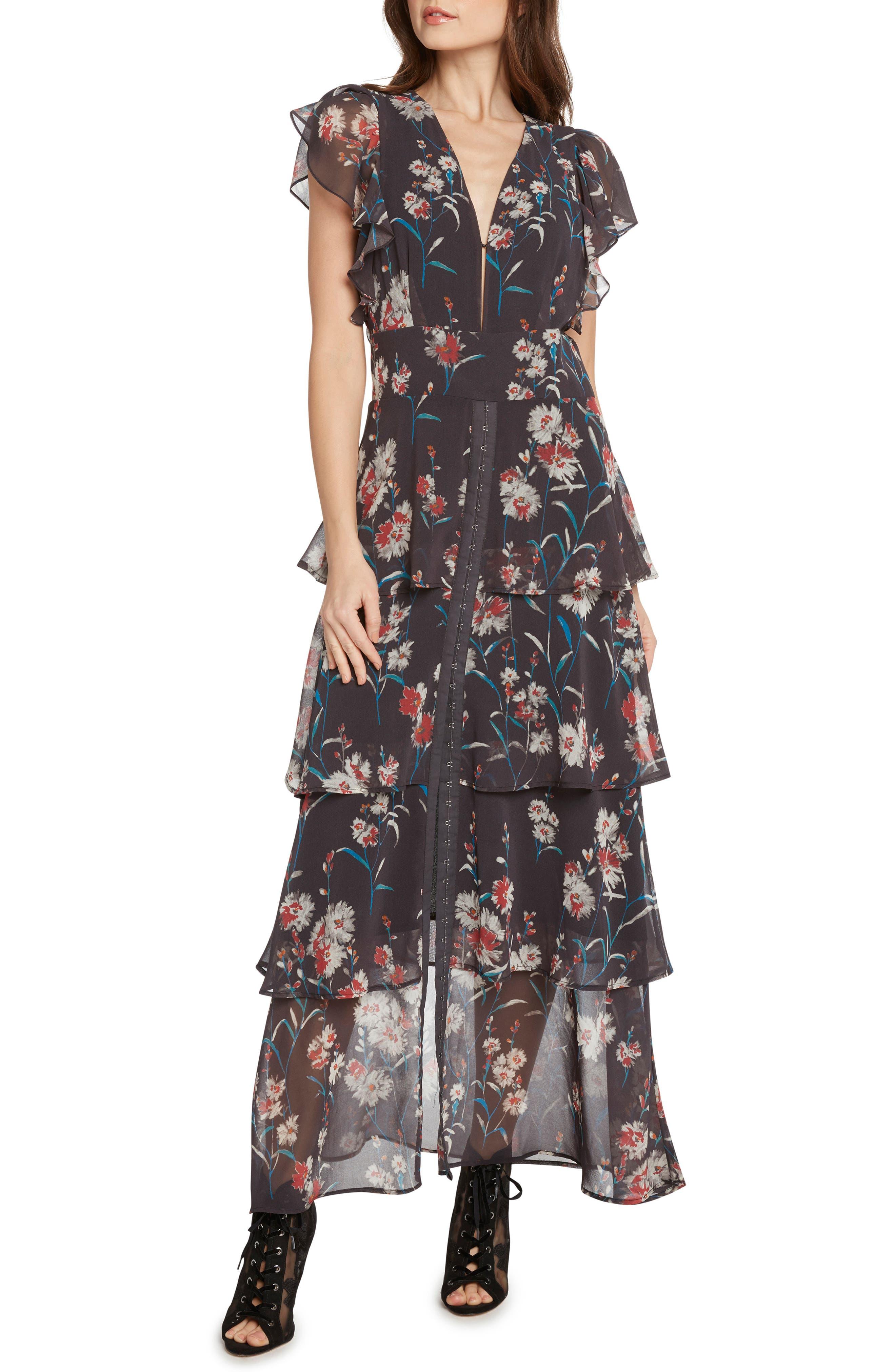 Floral Tiered Maxi Dress,                             Main thumbnail 1, color,                             034