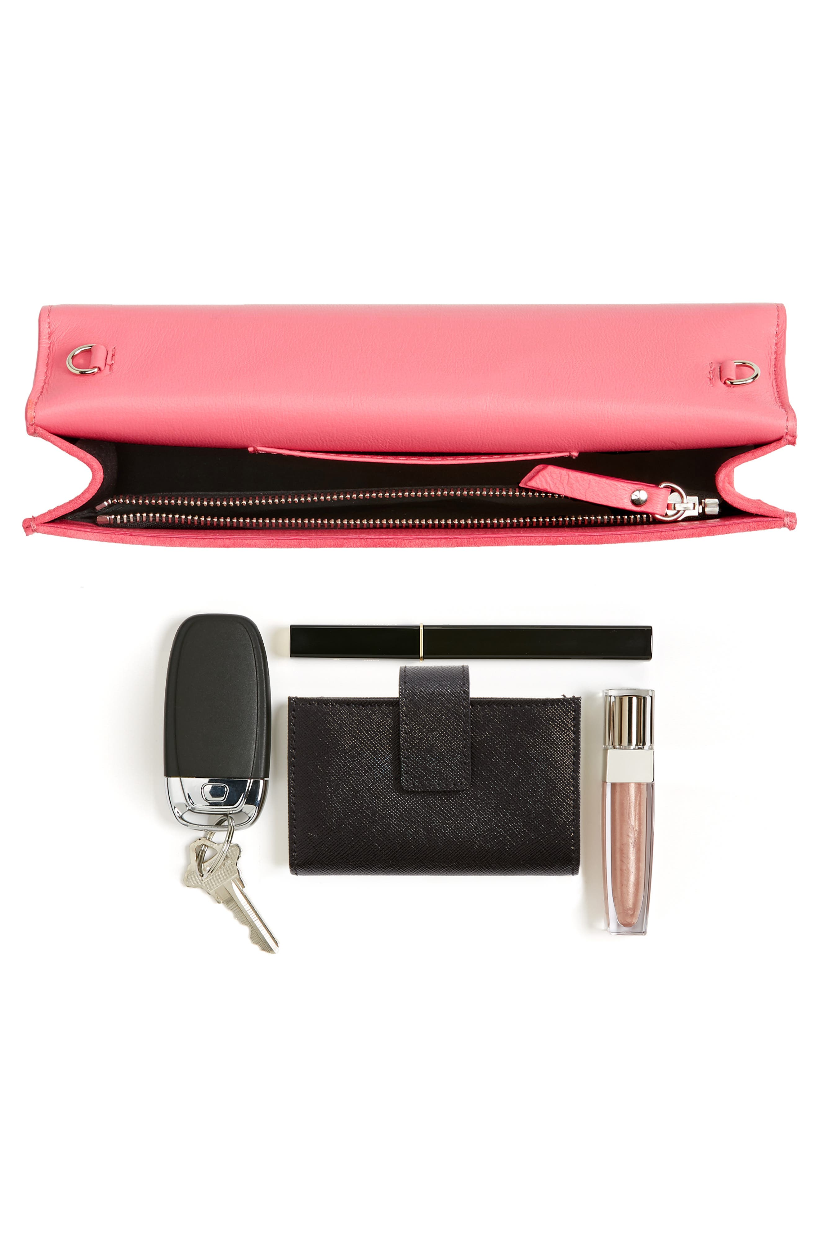 Fie Suede & Patent Leather Clutch,                             Alternate thumbnail 7, color,                             650