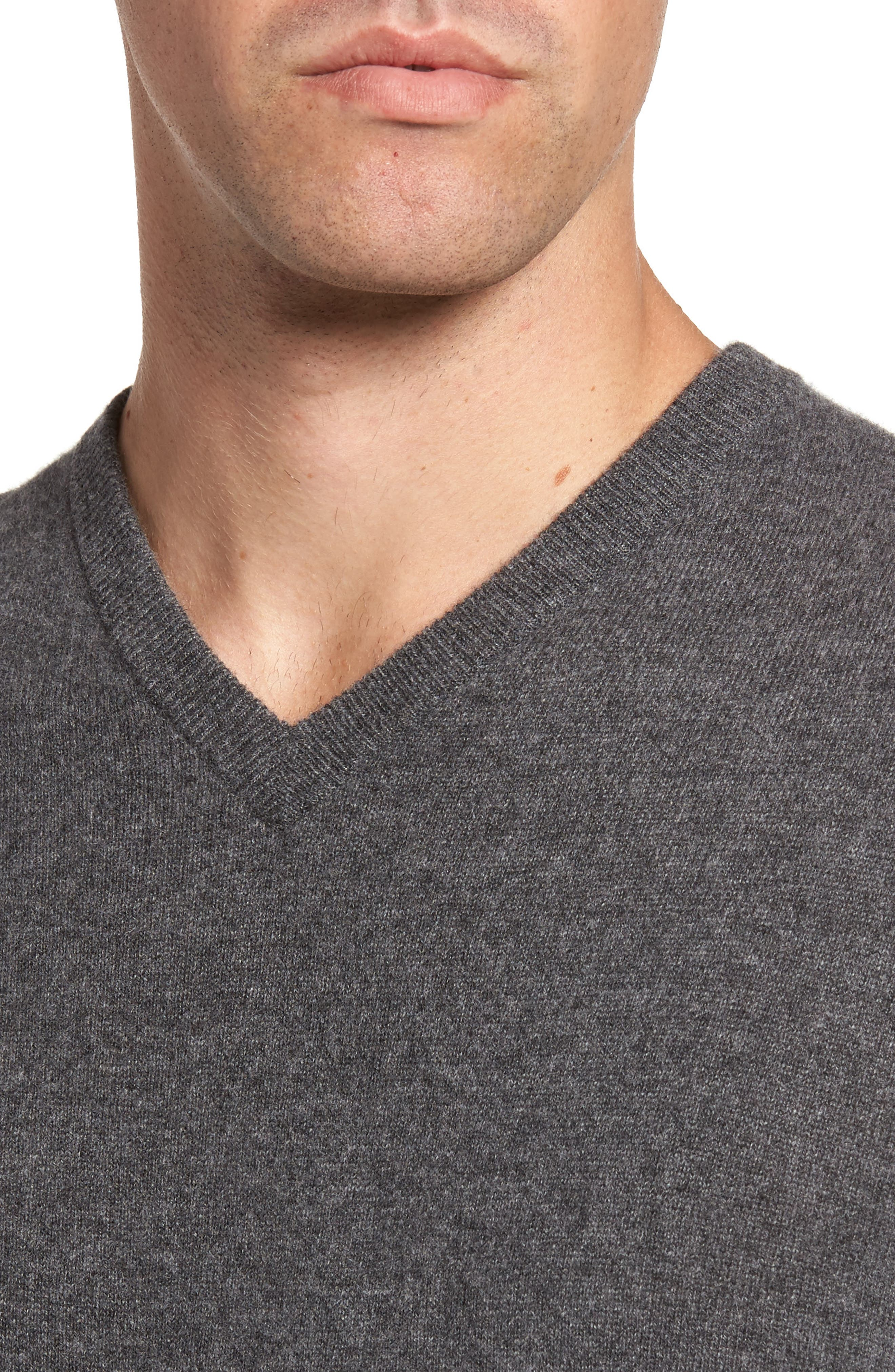 Cashmere V-Neck Sweater,                             Alternate thumbnail 4, color,                             GREY SHADE