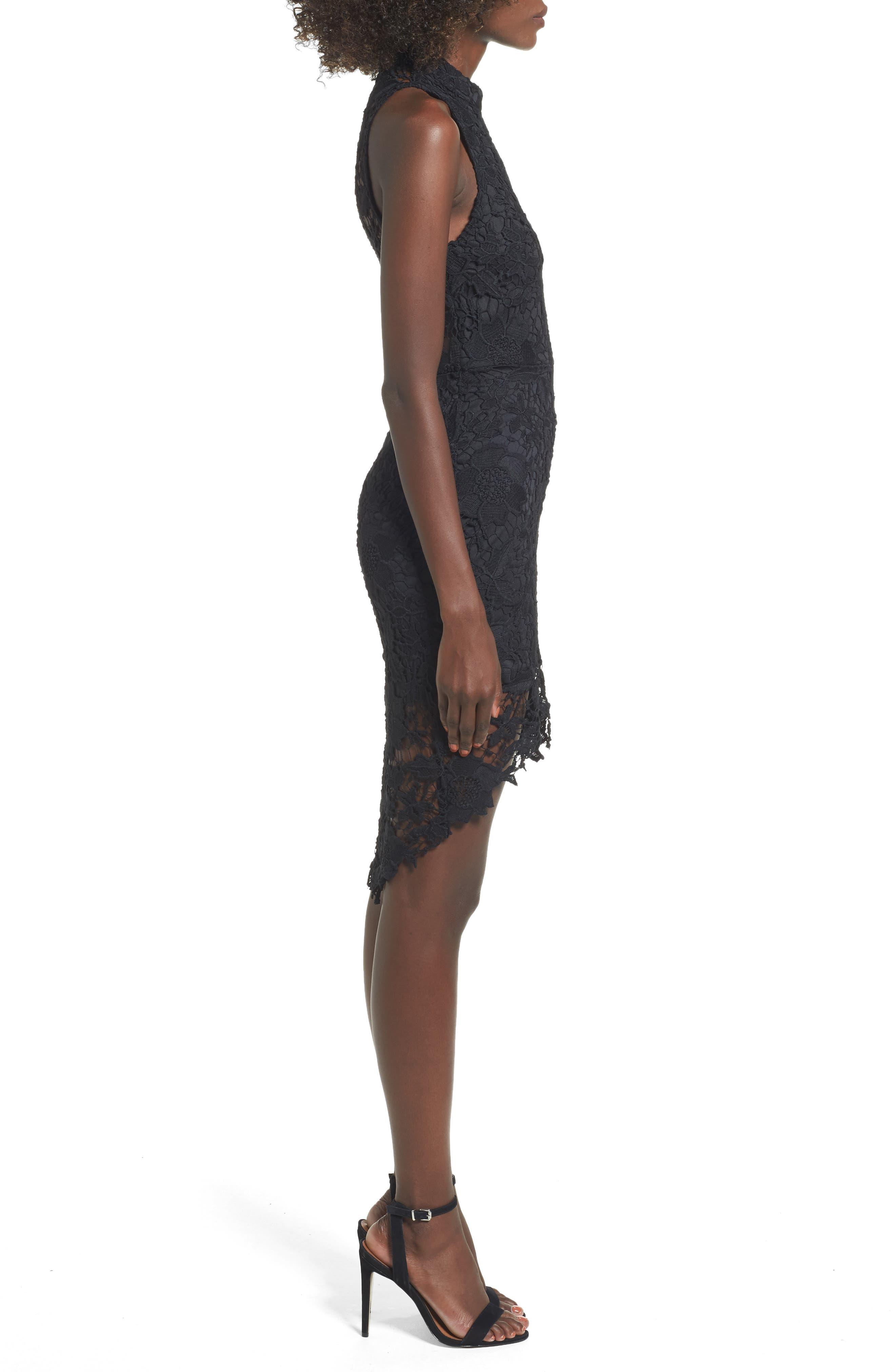 'Samantha' Lace Dress,                             Alternate thumbnail 3, color,                             001