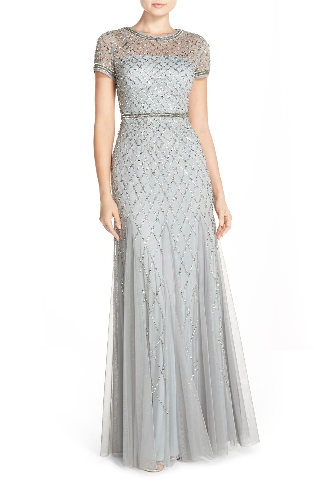 Beaded Mesh Gown,                             Main thumbnail 3, color,